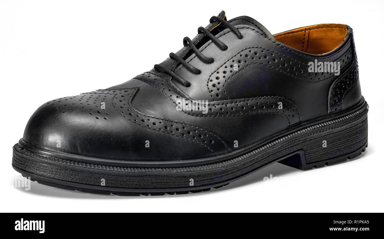 4ea3015b De encaje negro zapato de cuero en color blanco con sombra Imagen De Stock