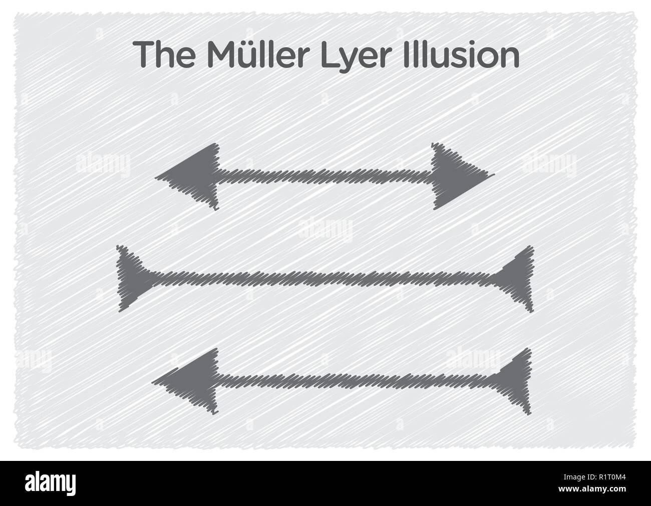 Ilusión óptica Muller-Lyer ilustración Imagen De Stock
