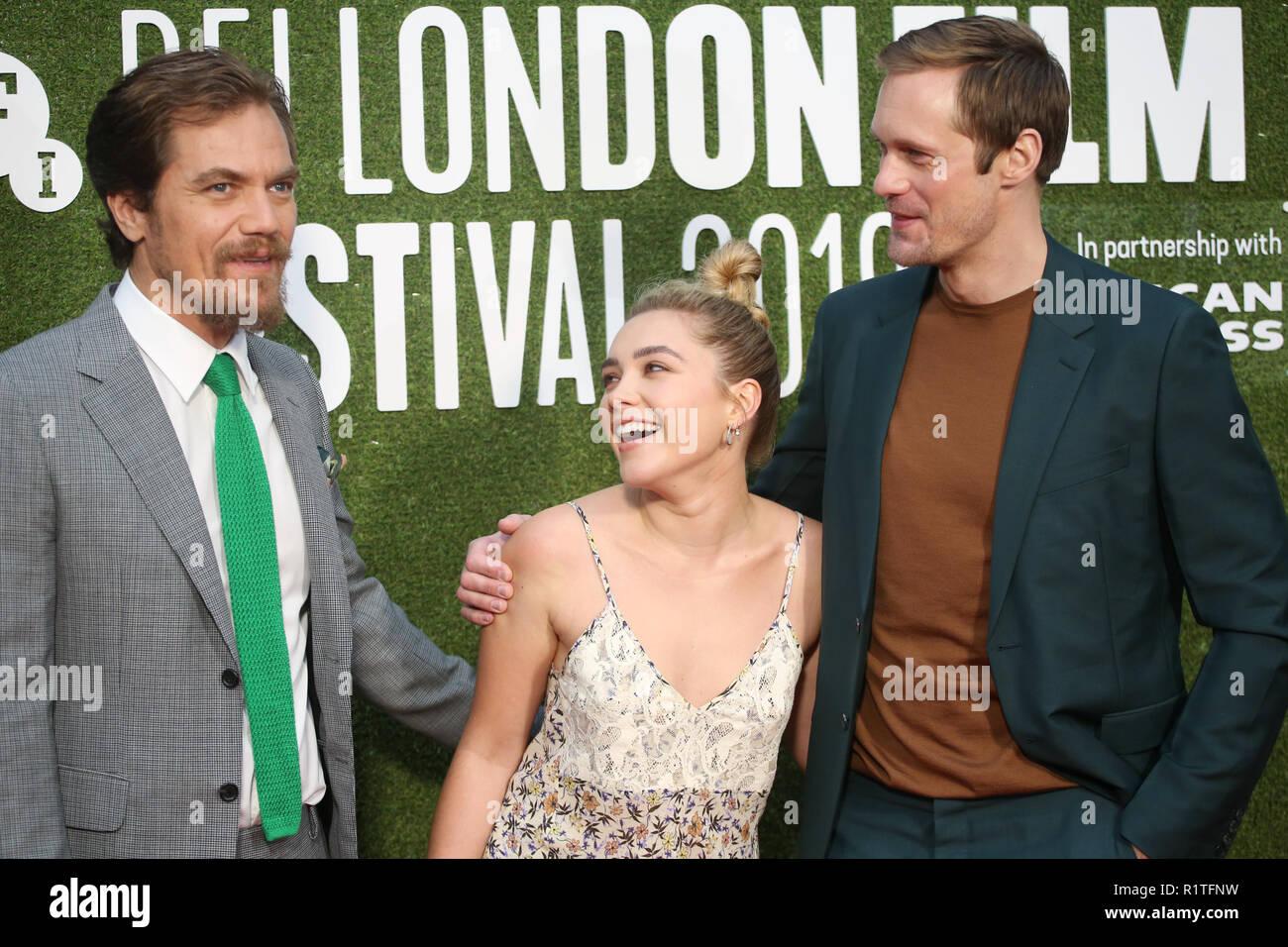 BFI London Film Festival el Little Drummer Girl premiere - Llegadas con: Michael Shannon, Florencia Pugh, Alexander Skarsgard donde: Londres, Reino Unido cuando: 14 de octubre de 2018 Créditos: Lia Toby/WENN.com Imagen De Stock