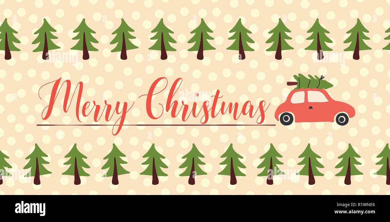 Saludos De Navidad Vector Banner Sin Fisuras Coche Rojo Con