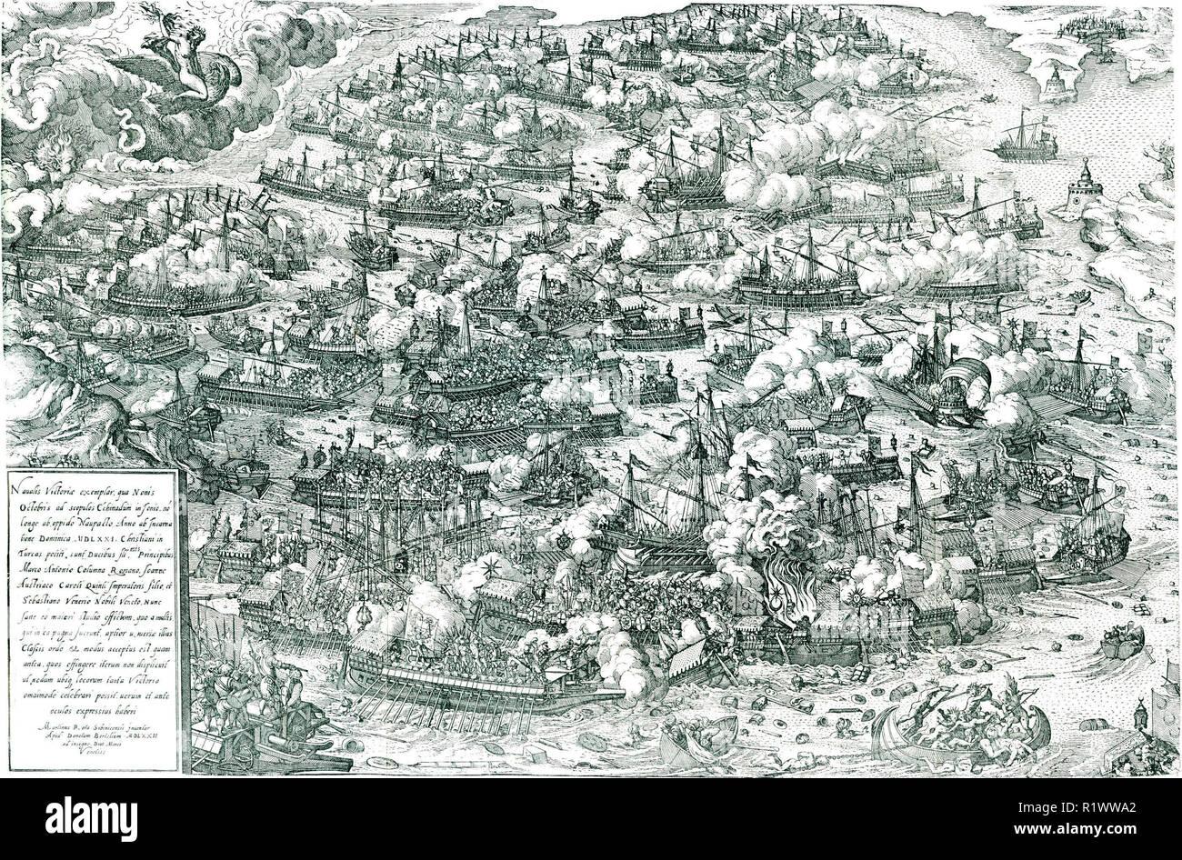 La batalla de Lepanto, grabado por Martin Rota, 1572. La batalla de Lepanto fue un compromiso naval que tuvo lugar el 7 de octubre de 1571 cuando una flota de la Liga Santa, encabezada por la República de Venecia y el Imperio Español, infligió una gran derrota en la flota del Imperio Otomano, en el golfo de Patras. Foto de stock