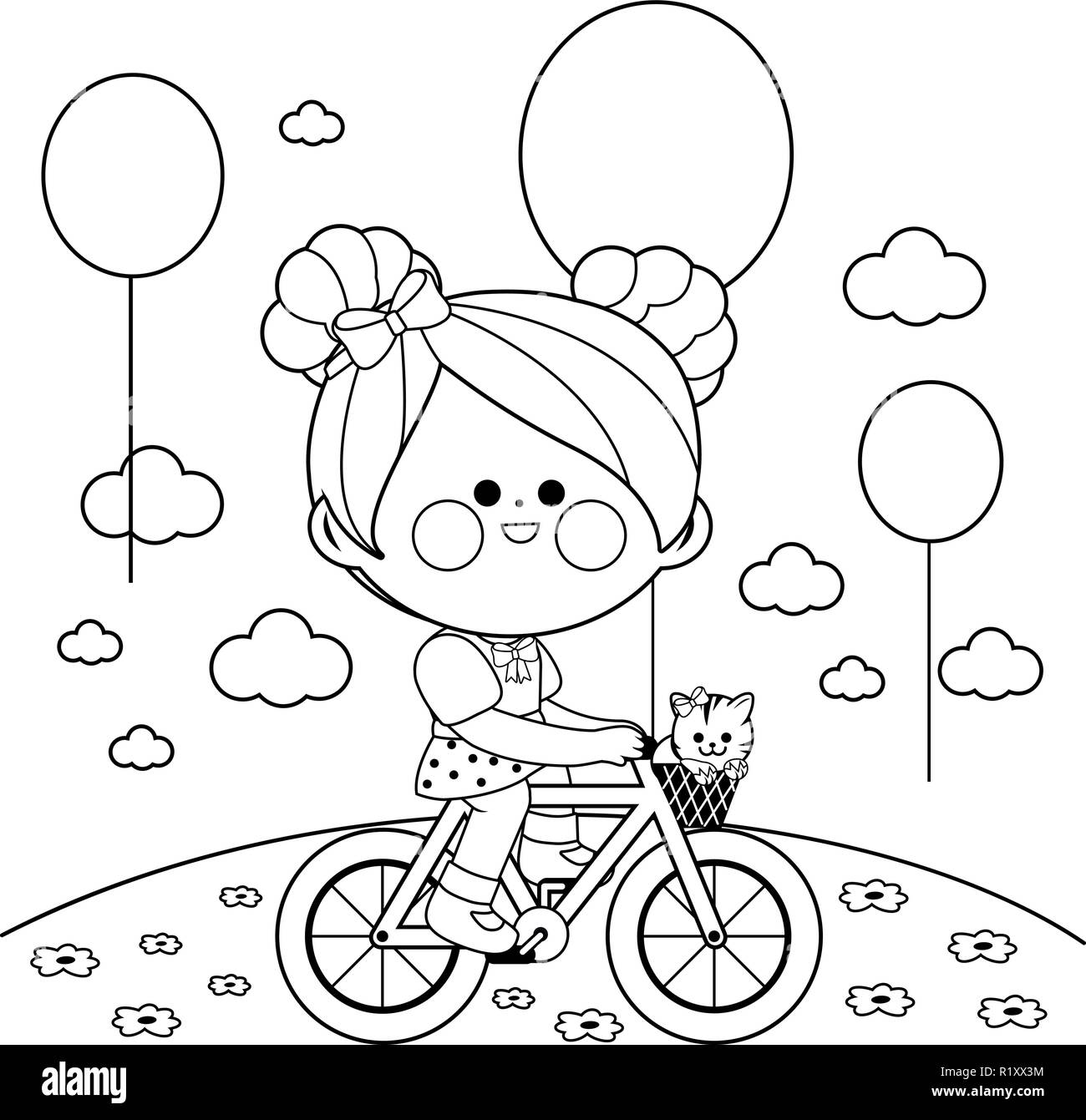 Feliz Niña En Bicicleta En El Parque Blanco Y Negro Vectorial