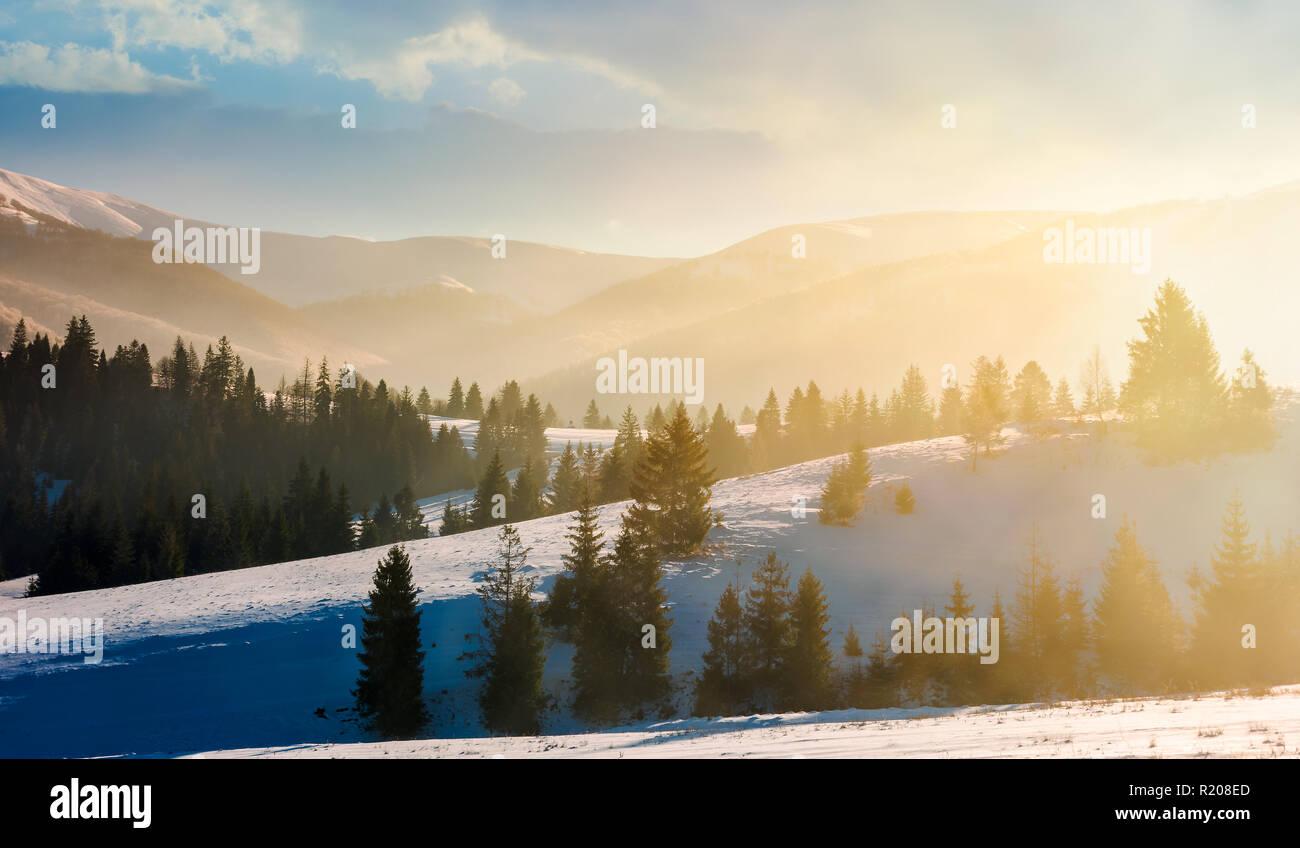 hermosas fotos de invierno naturaleza Hermoso Paisaje De Invierno En Niebla Resplandeciente