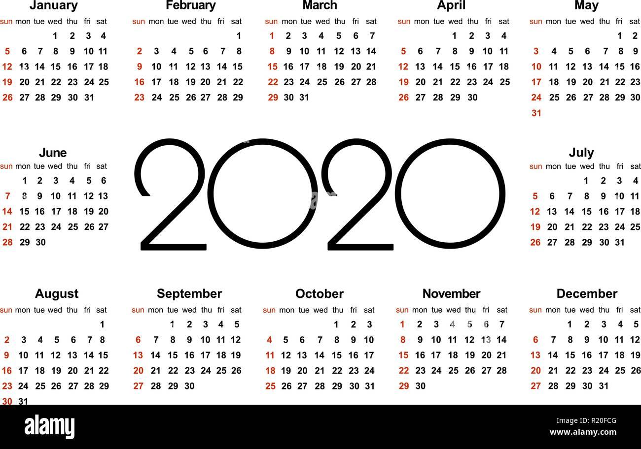 Vector De Calendario 2020.Plantilla Calendario 2020