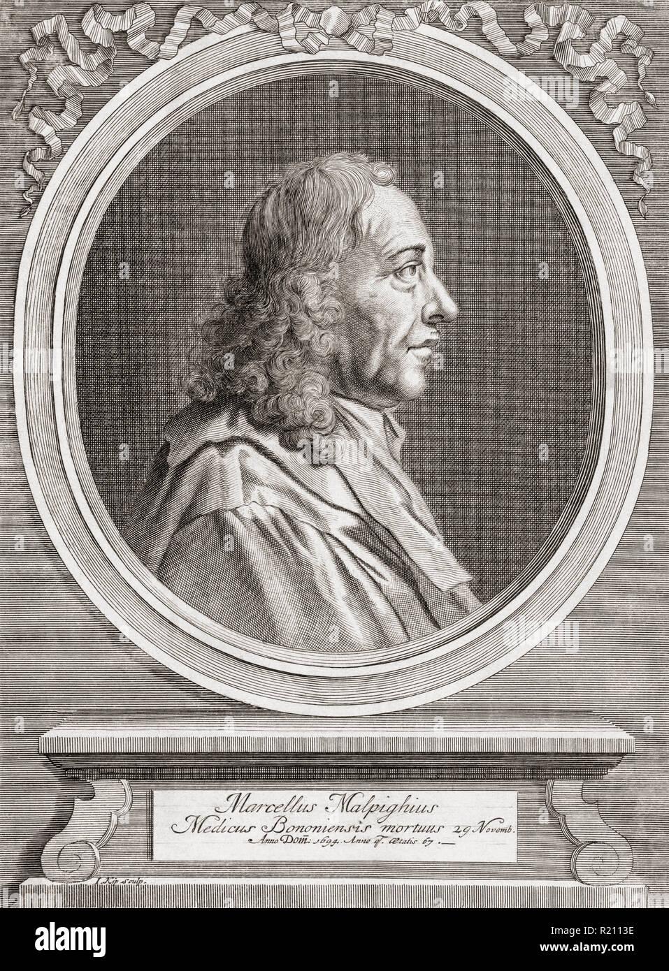 """Marcello Malpighi, 1628 - 1694. El biólogo y médico italiano. Considerado como el """"Padre del microscópico Anatomía, Histología, fisiología y embriología"""". Imagen De Stock"""