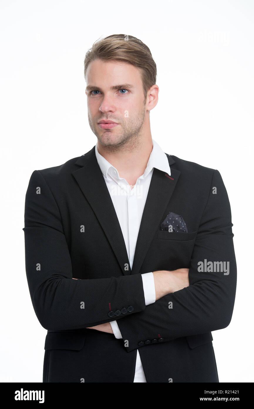 El hombre bien arreglado unbuttoned white collar elegante traje formal  aislado fondo blanco. Macho seguro conjunto perfecto pañuelo de bolsillo. d66f16341bee