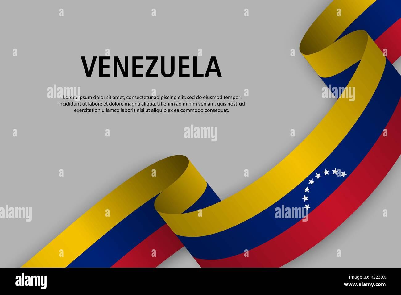 Cinta Ondeando Con Bandera De Venezuela La Plantilla Para El Día De