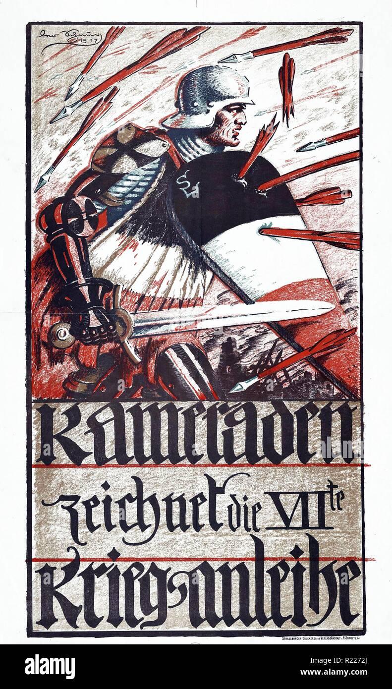 1917 Primera Guerra Mundial cartel propagandístico alemán: die Siebente Kameraden, Zeichnet Kriegsanleihe [Camaradas, Suscríbase al Préstamo de Guerra séptimo] Imagen De Stock
