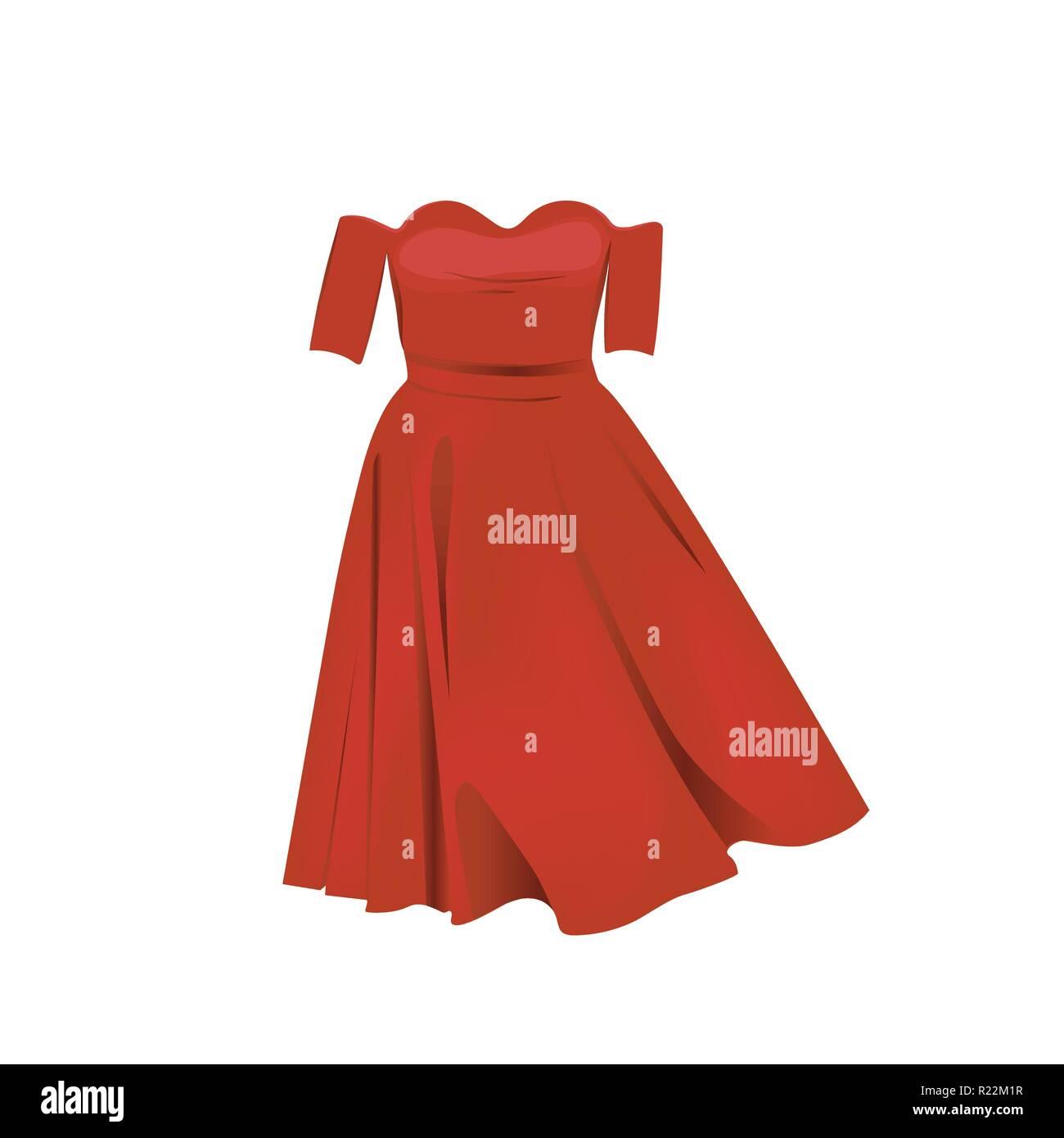 f75a0bf2e33bb Sin hombro vestido rojo ilustración vectorial. Retro vestido rojo aislado  sobre fondo blanco.