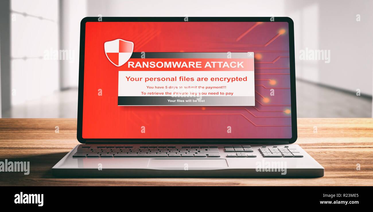 Ransomware, ataque de virus alerta en una pantalla de ordenador portátil, escritorio de madera, oficina de desenfoque de fondo, vista delantera. Ilustración 3d Imagen De Stock