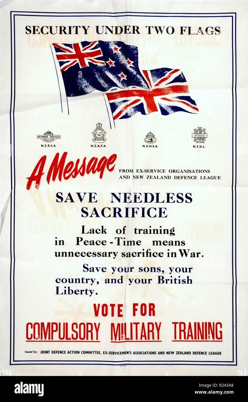 Póster de Nueva Zelandia propugna la formación militar obligatoria ley fue introducida en 1949 durante las primeras etapas de la guerra fría Imagen De Stock
