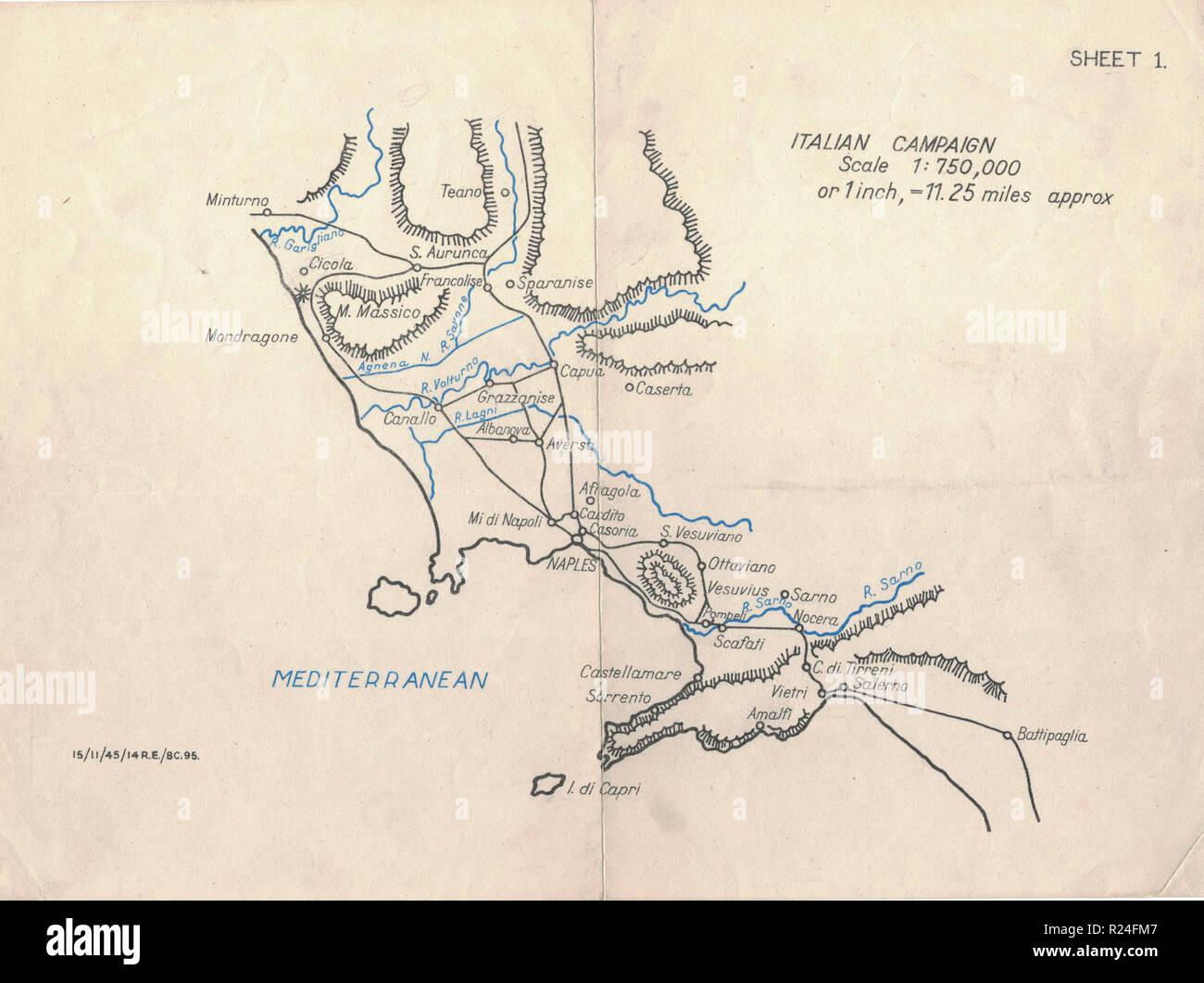 Guerra Mundial 2 mapas de campaña europea 1945, campaña italiana Imagen De Stock