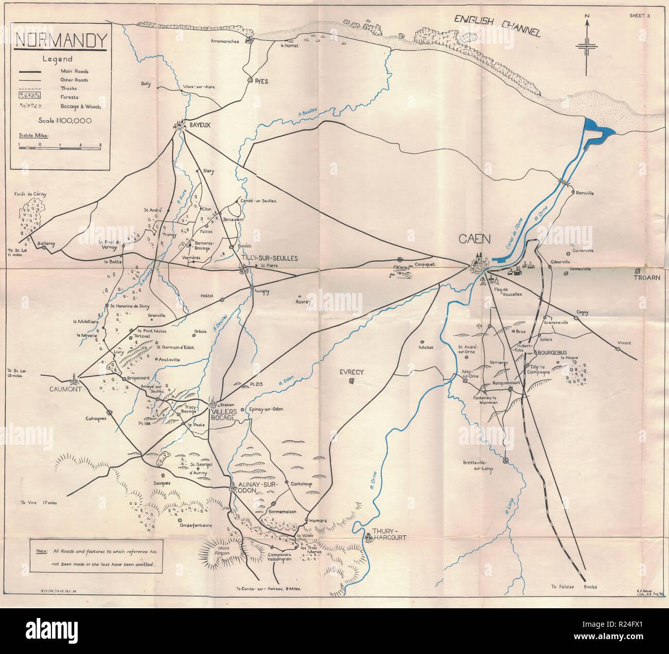 Guerra Mundial 2 mapas de campaña europea 1945, Normandía Imagen De Stock