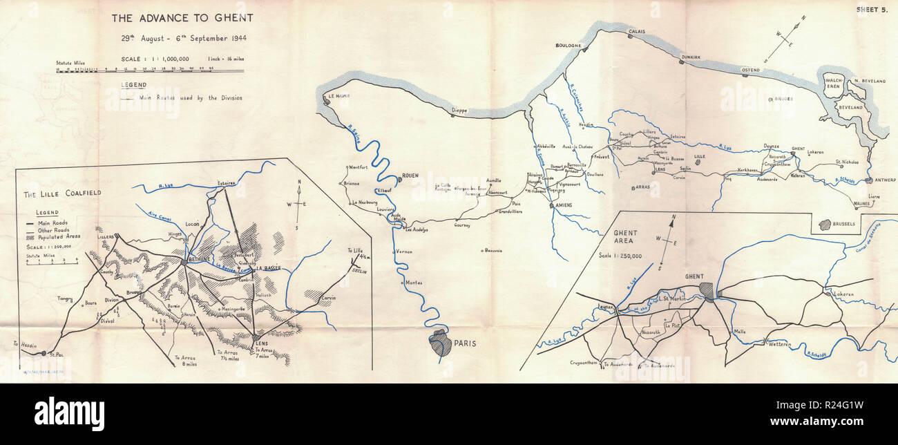 Guerra Mundial 2 mapas de campaña europea 1945, anticipo de Gante Imagen De Stock
