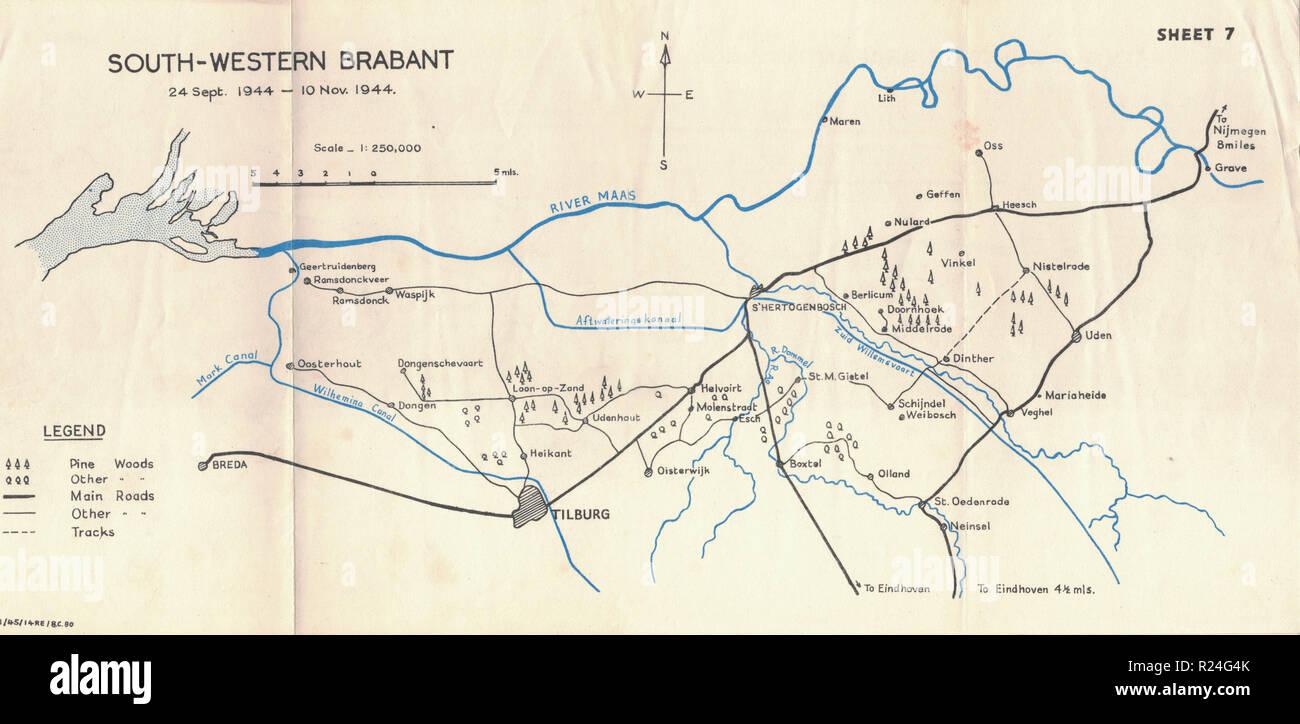 Guerra Mundial 2 mapas de campaña europea de 1945, en el sur de Brabante occidental Imagen De Stock