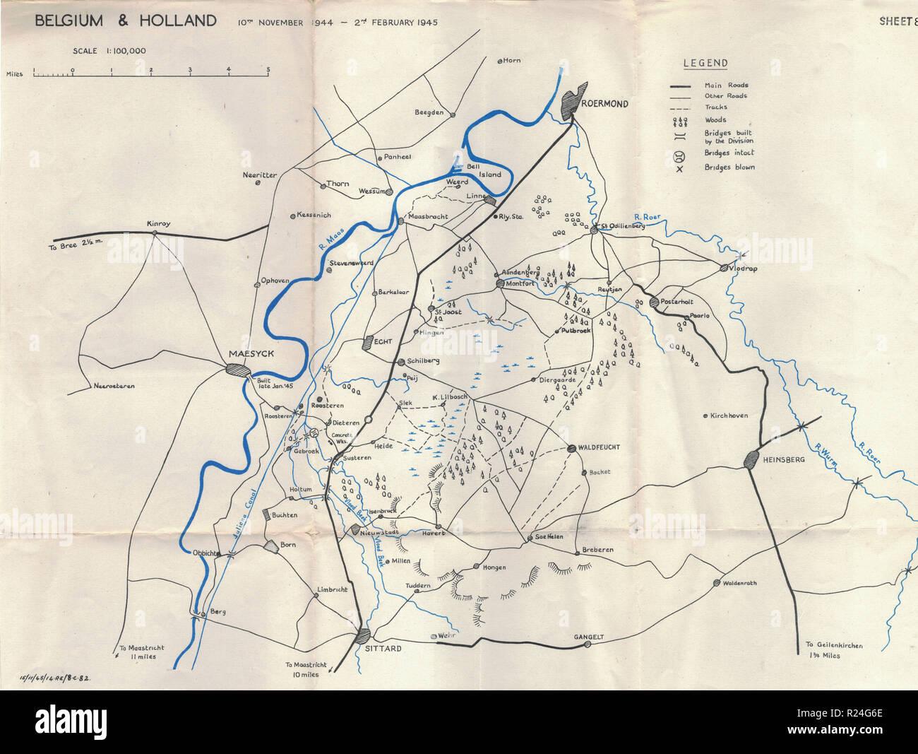 Guerra Mundial 2 mapas de campaña europea de 1945, Bélgica y Holanda Imagen De Stock