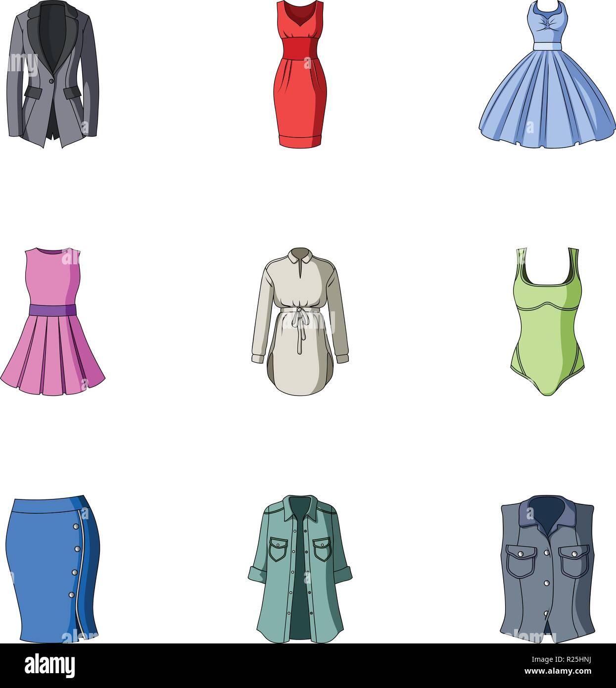 9cd0b407e Colección de iconos de ropa de mujer. Diversas prendas de vestir de ...
