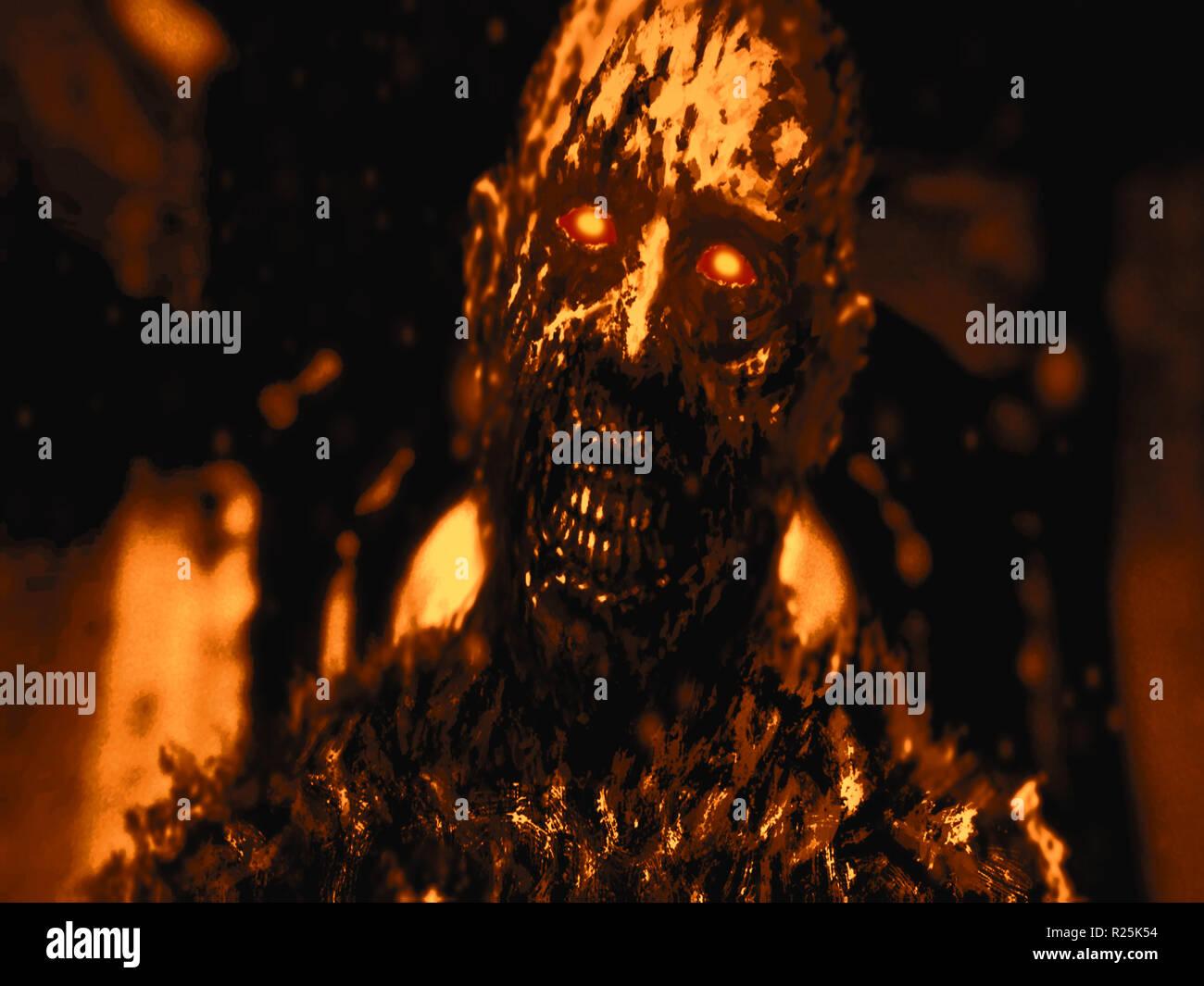 Zombie negro con brillantes ojos rojos. Fondo de color naranja. Ilustración en el género de horror. Foto de stock