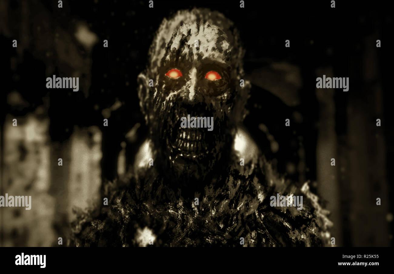Zombie con brillantes ojos rojos caminando en los pasillos de la casa abandonada. Ilustración en el género de horror. Scary monster personaje Foto de stock