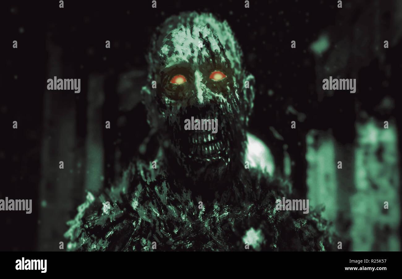 Dungeon zombie con brillantes ojos rojos caminando en los pasillos de la casa abandonada. Ilustración en el género de horror. Scary monster personaje Foto de stock