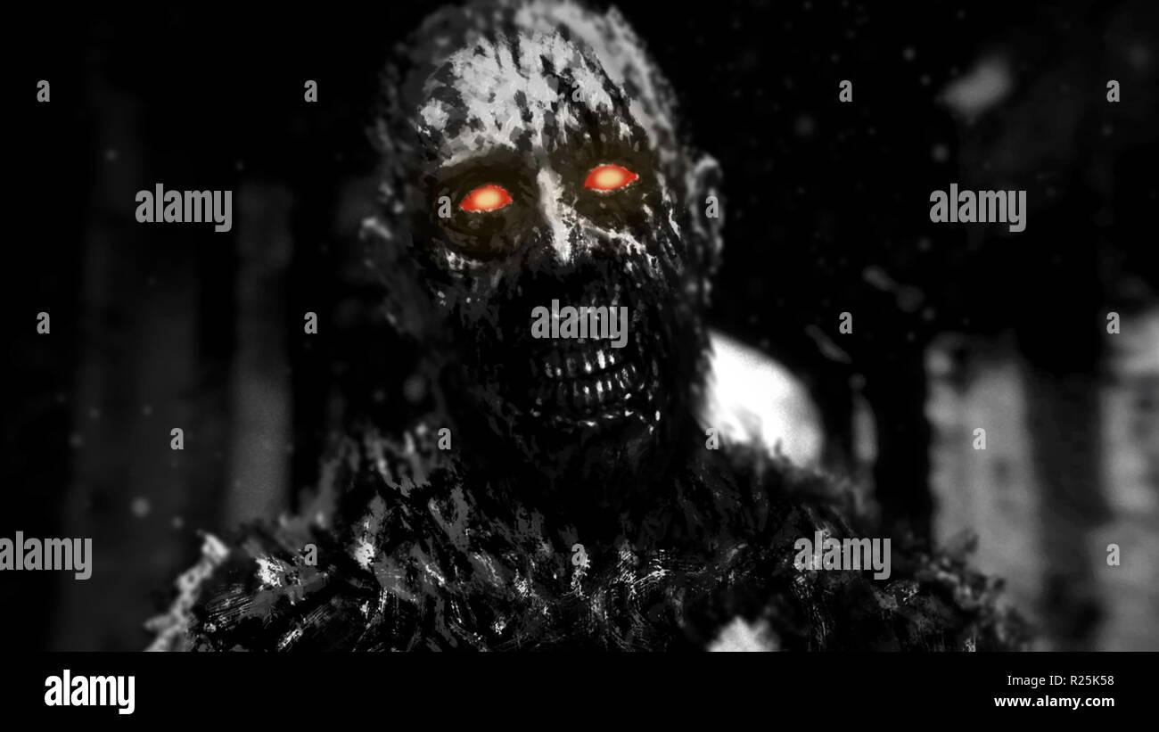Zombie con brillantes ojos rojos caminando en los pasillos de la casa abandonada. Ilustración en el género de horror. Scary monster personaje. Color blanco y negro. Foto de stock