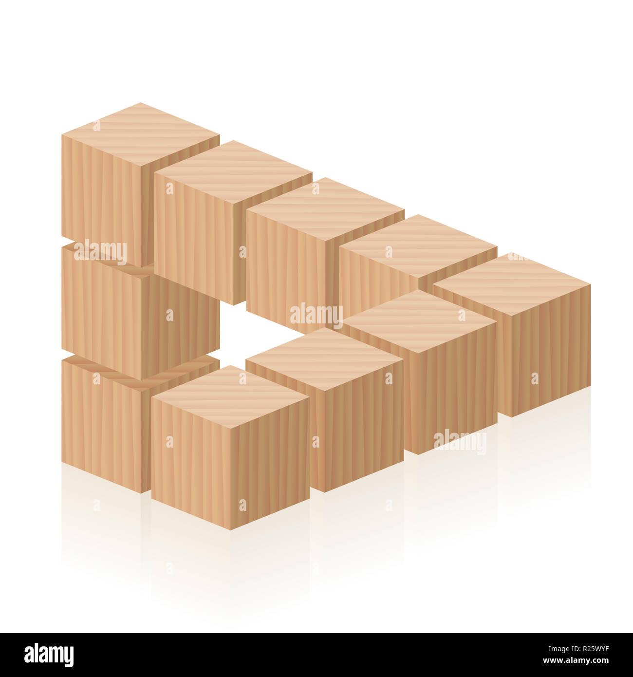 Figura imposible. Ilusión óptica con cubos de madera. Imagen De Stock