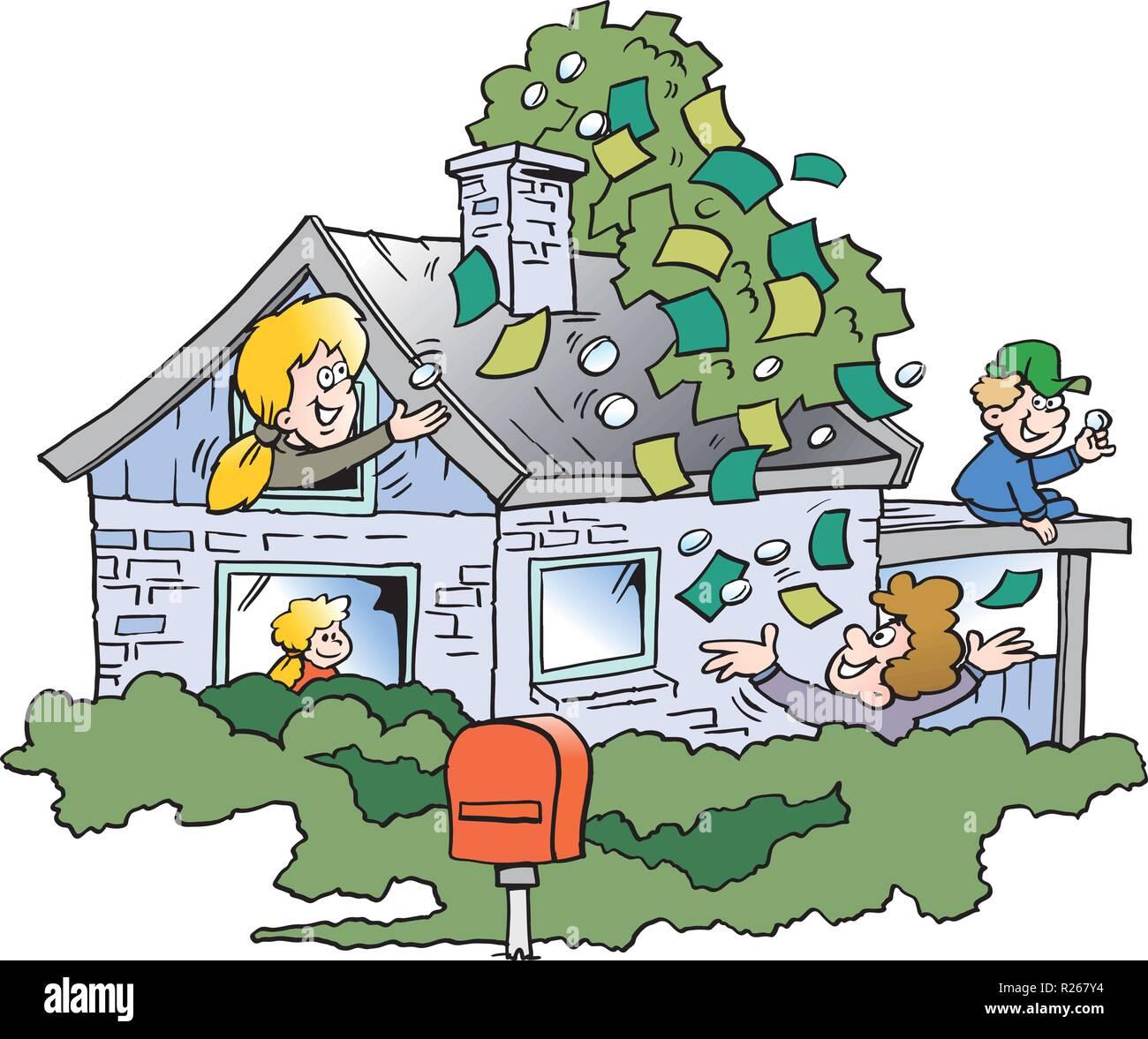 Ilustración Vectorial De Dibujos Animados De Una Familia Feliz Se Ha