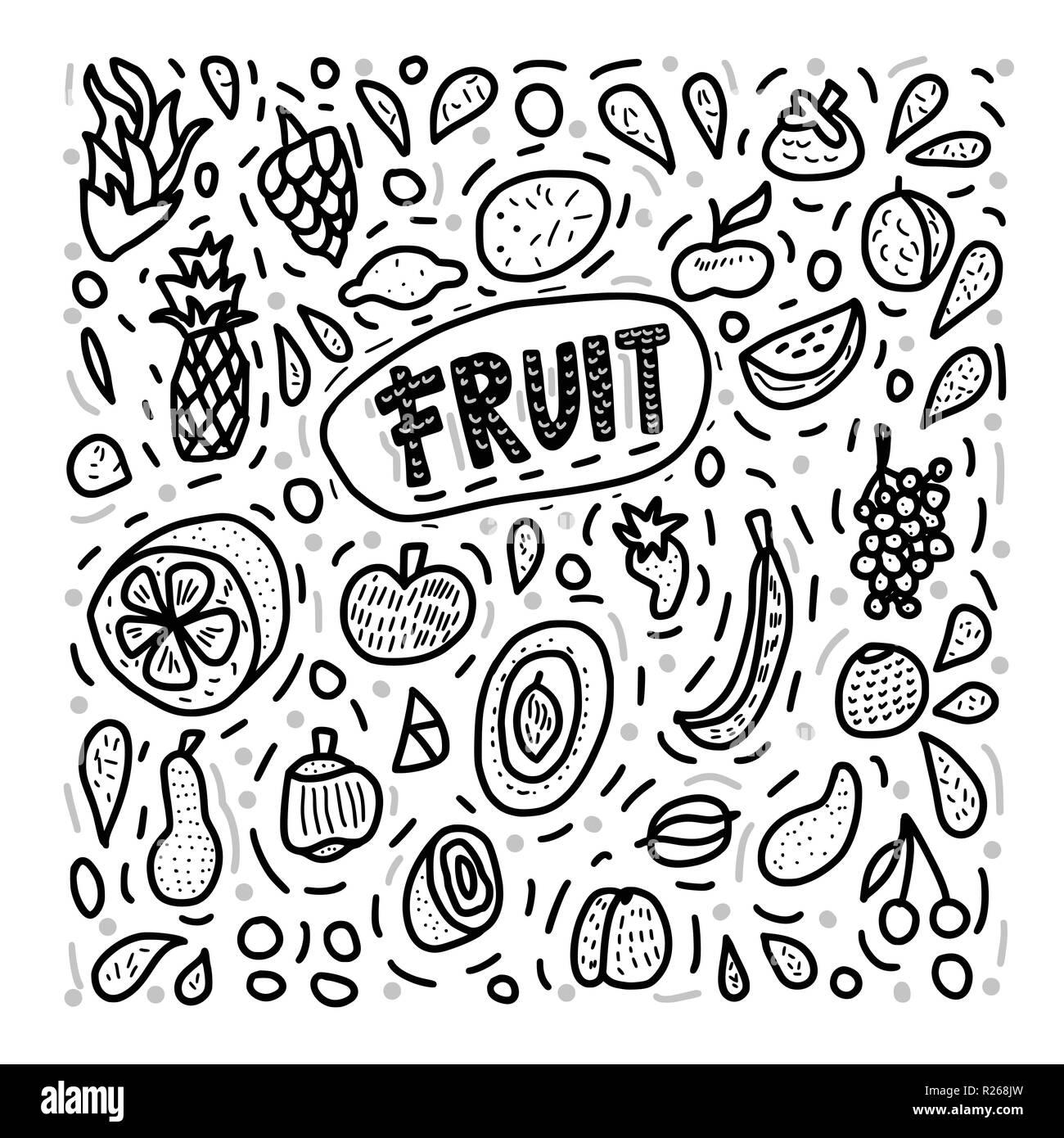 Concepto De Vector Fruta En Doodle Estilo Conjunto De Frescos De
