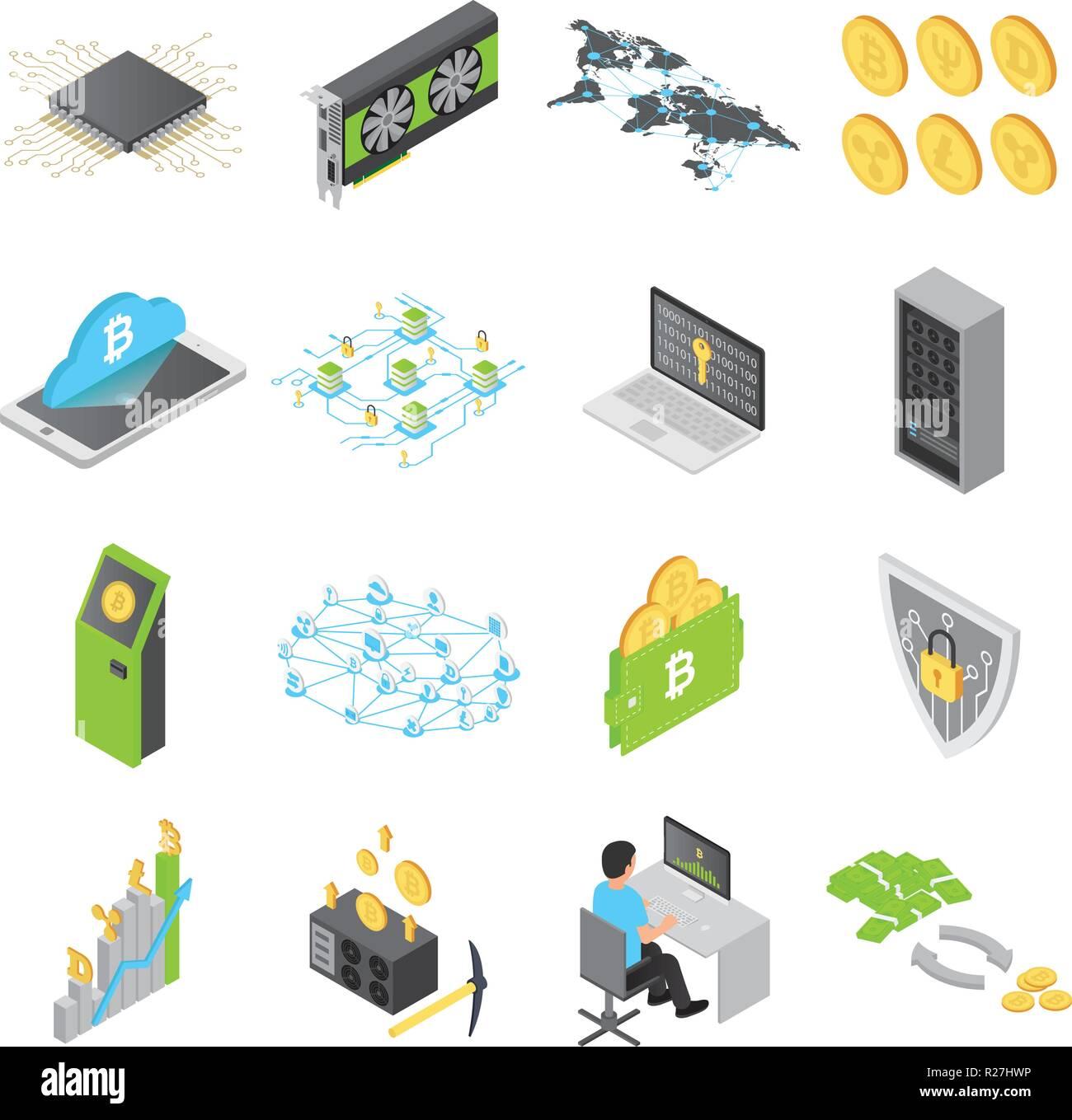 Los iconos de la tecnología Blockchain set. Ilustración de 16 blockchain isométrica tecnología iconos vectoriales para web Imagen De Stock