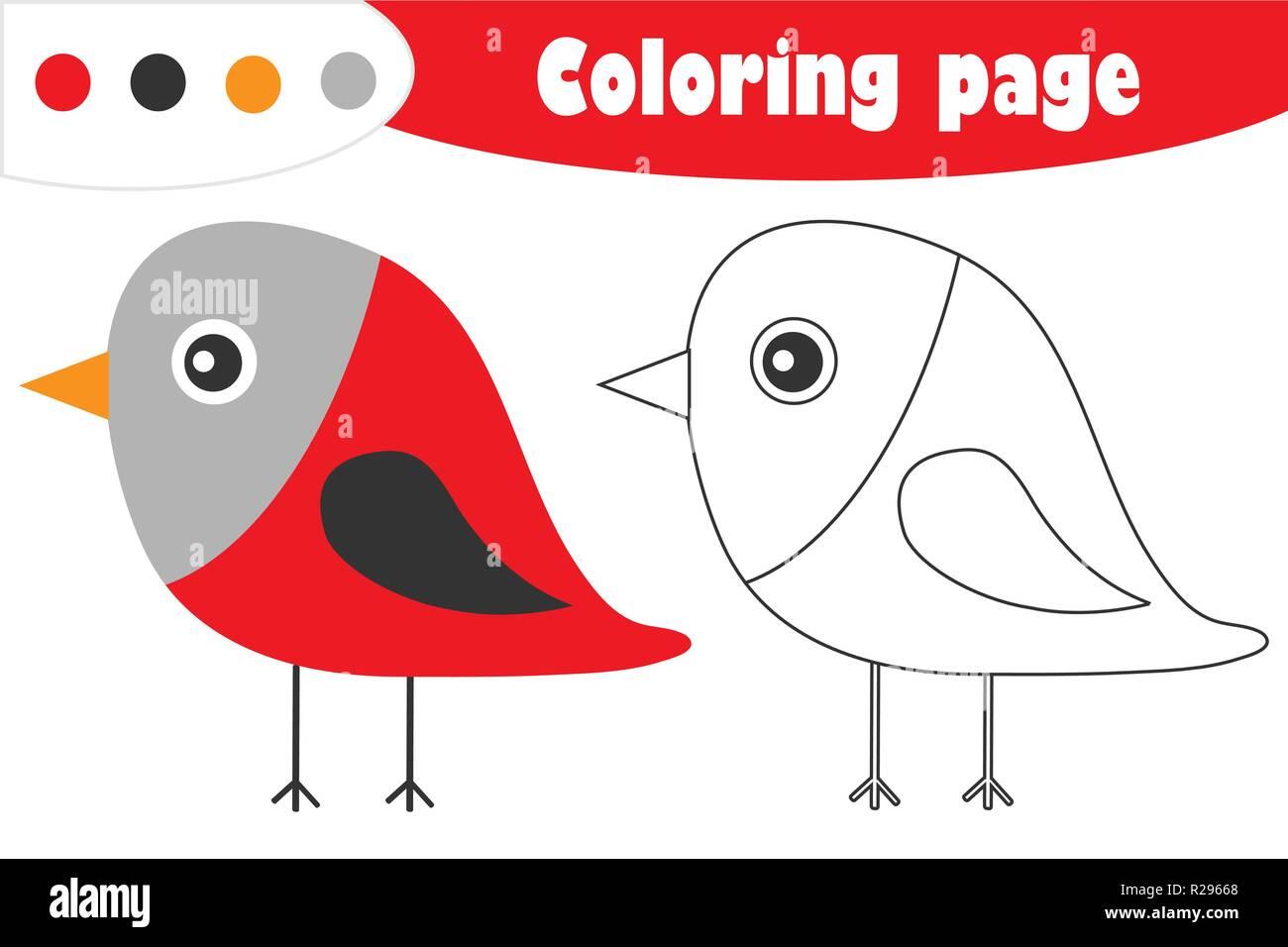 Bullfinch En Estilo De Dibujos Animados Navidad Página Para