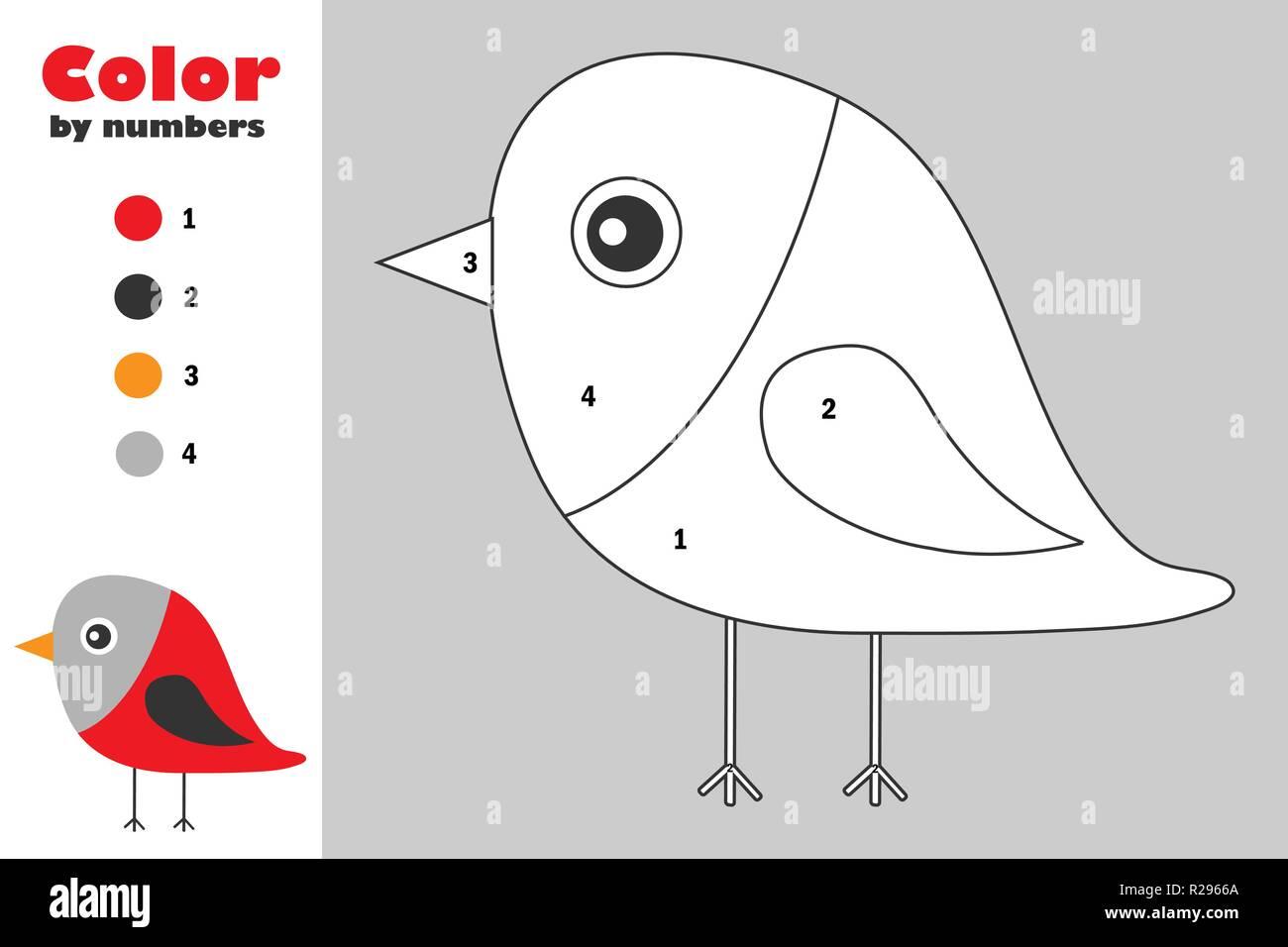 Bullfinch En Estilo De Dibujos Animados Color Por Número Navidad