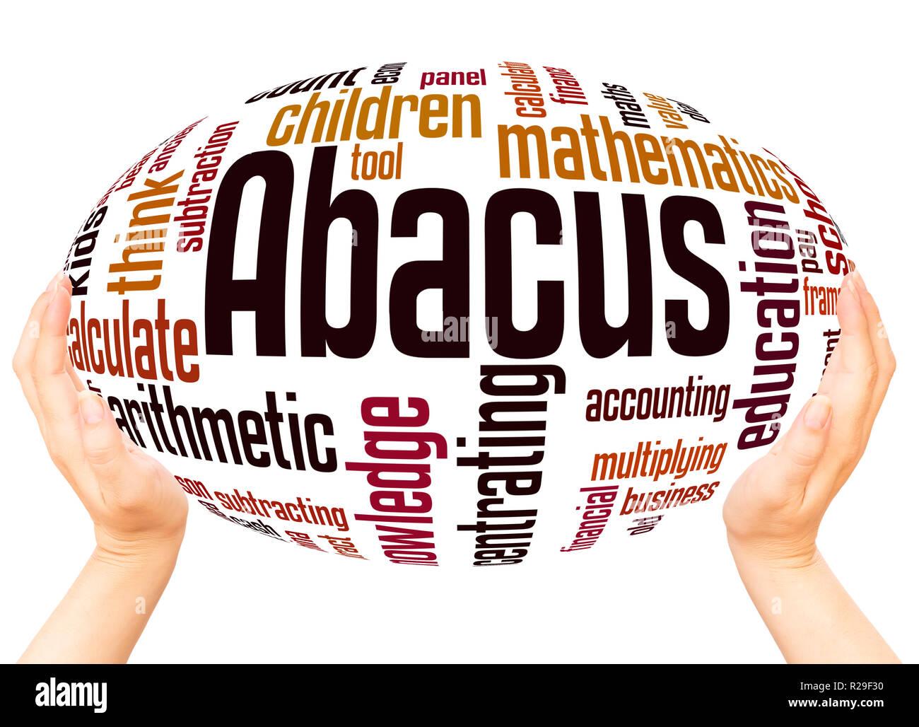 Abacus - boliche, palabra nube esfera mano concepto sobre fondo blanco. Foto de stock