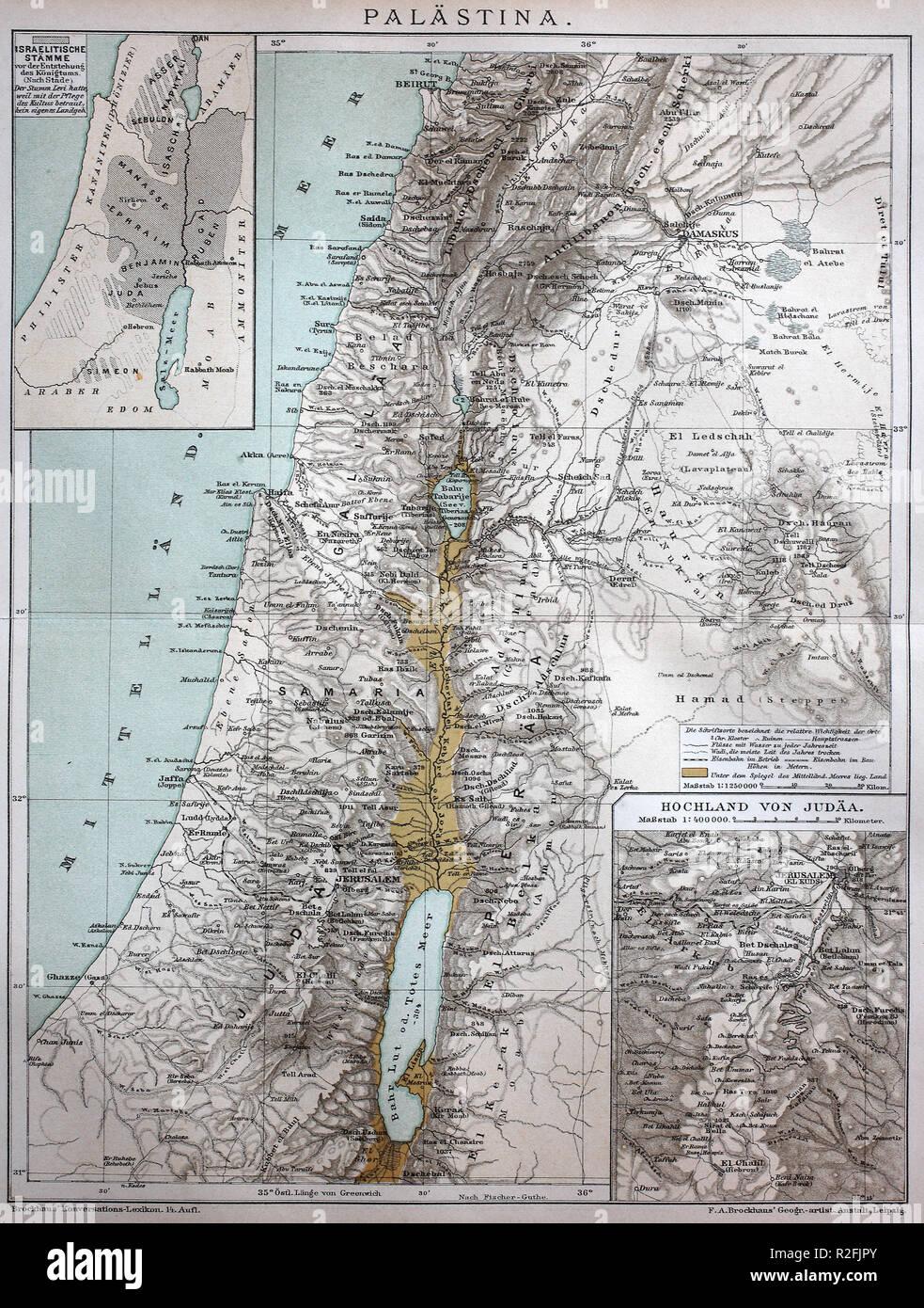 Mejor reproducción digital, el mapa de Palestina en el año 1886, a partir de una impresión original del siglo XIX. Imagen De Stock