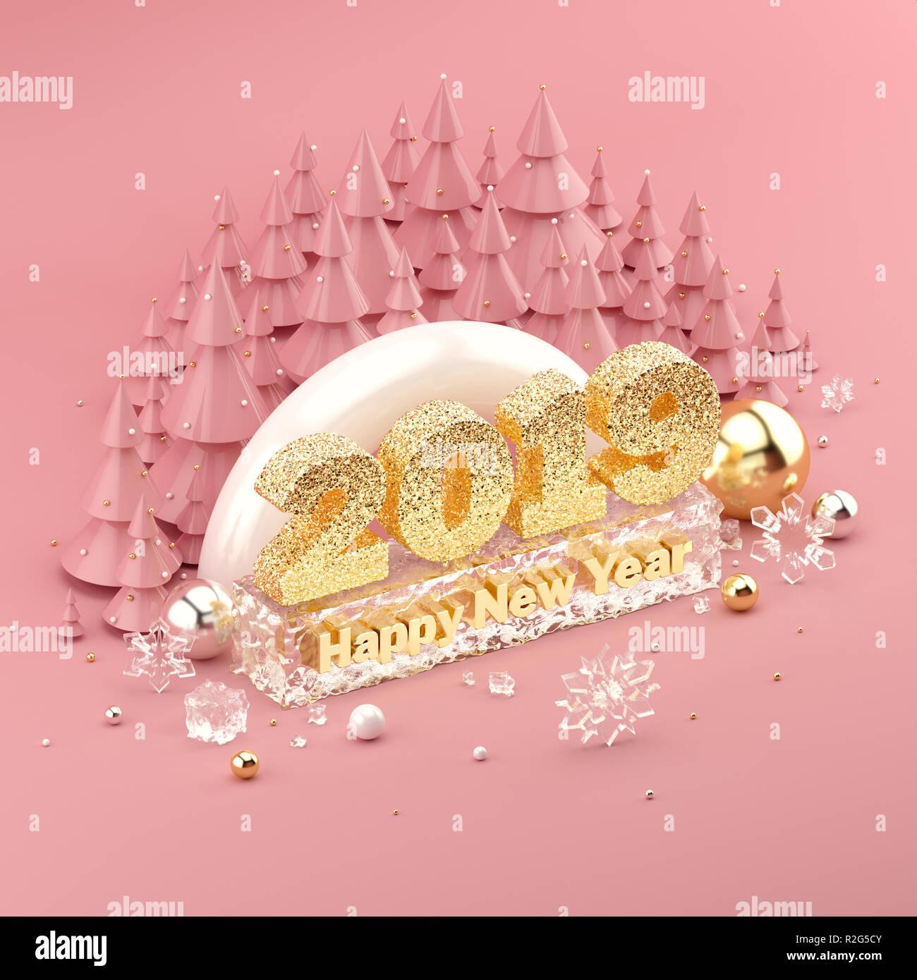 Oro rosa 3D isométrica ilustración con 2019 Feliz Año Nuevo deseo. Imagen De Stock