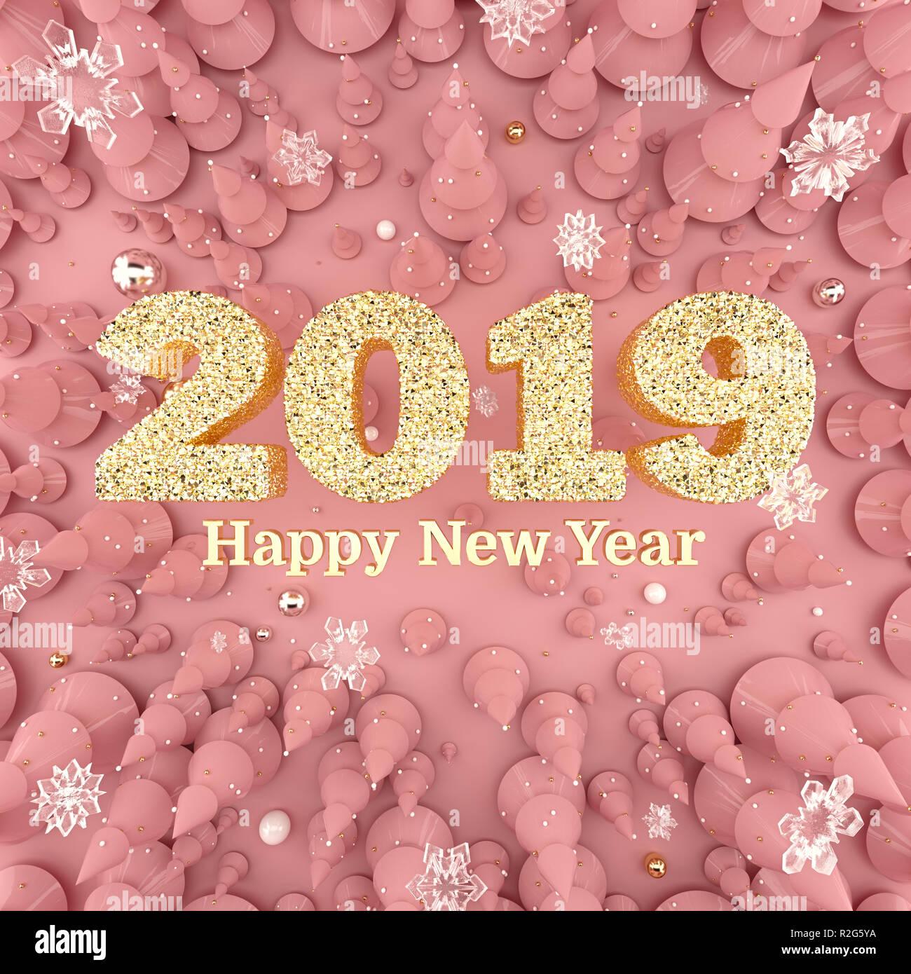 La rosa de oro Feliz Año Nuevo 2019 top view 3D ilustración. Imagen De Stock