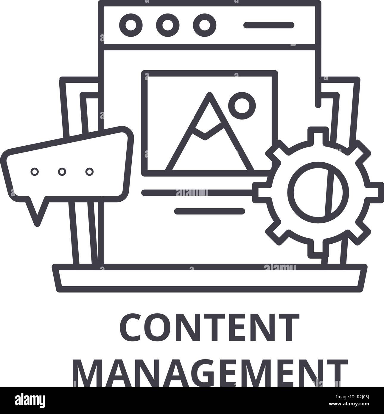 Icono de la línea de administración de contenido el concepto. Content management vector Ilustración lineal, símbolo, signo Imagen De Stock