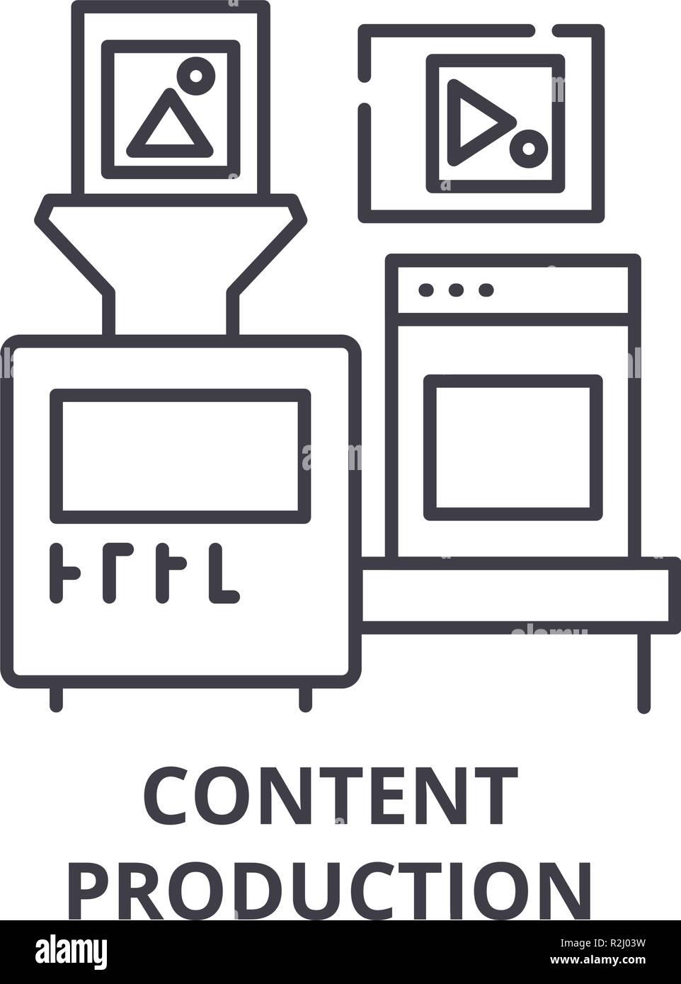 Icono de línea de producción de contenido de concepto. Producción de contenido vectorial Ilustración lineal, símbolo, signo Imagen De Stock