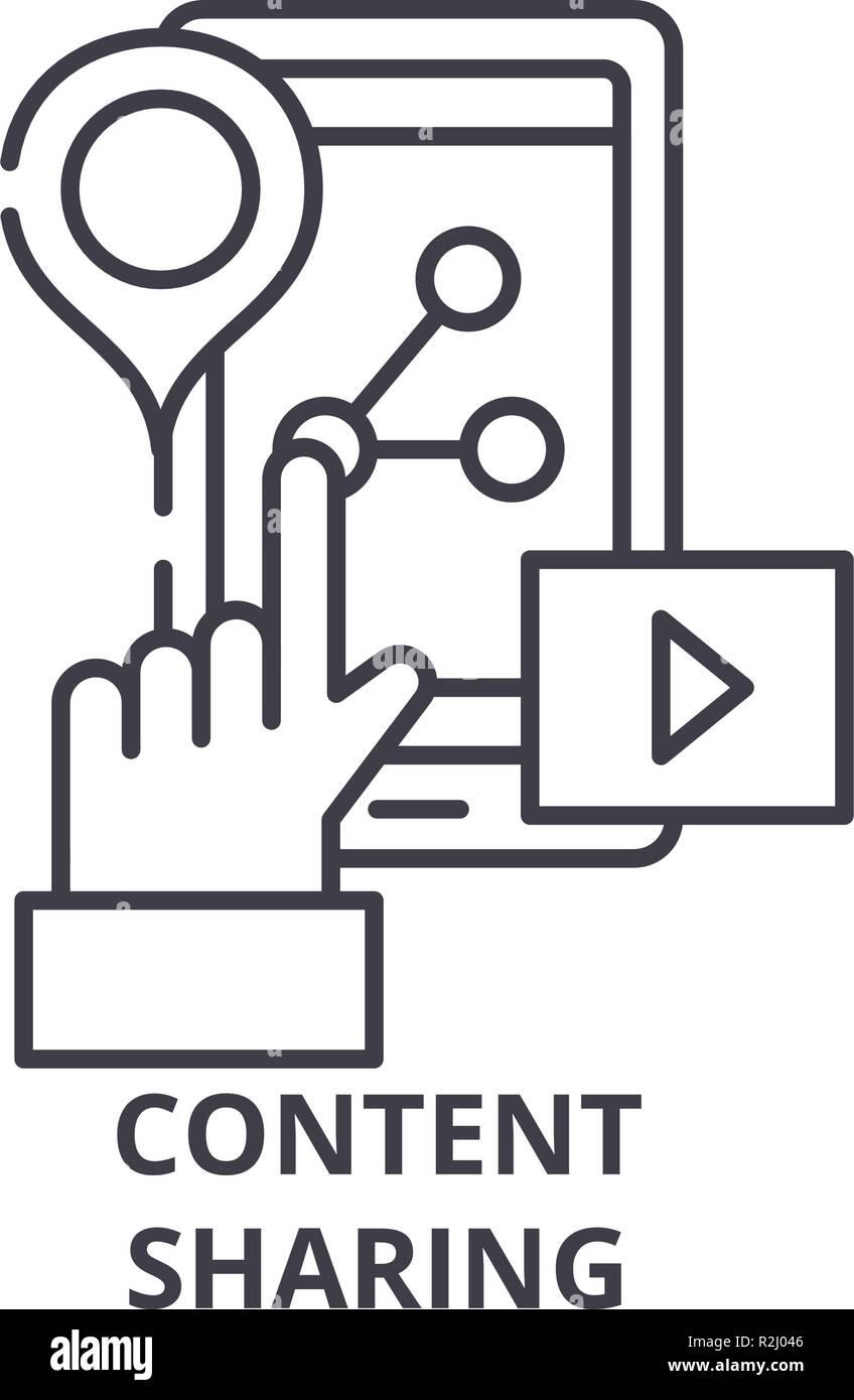 Icono de línea de uso compartido de contenido el concepto. Uso compartido de contenido vectorial Ilustración lineal, símbolo, signo Imagen De Stock