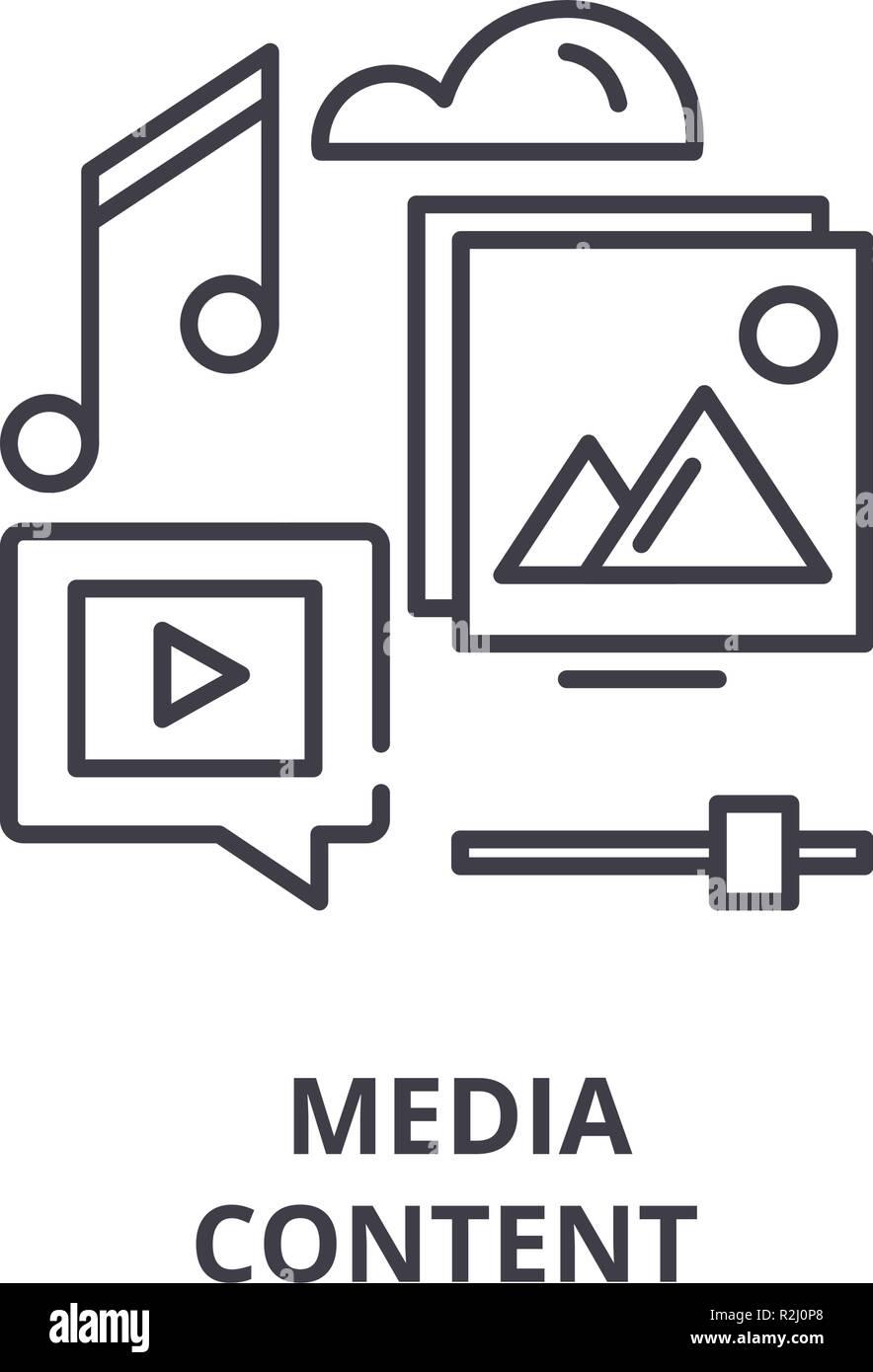 Icono de línea de contenido multimedia de concepto. Contenido multimedia ilustración lineal de vectores, símbolo, signo Imagen De Stock