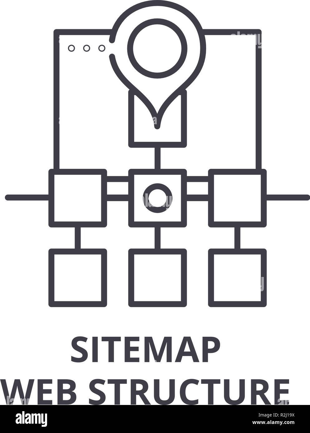 Mapa Del Sitio Web Icono De Línea De La Estructura Del