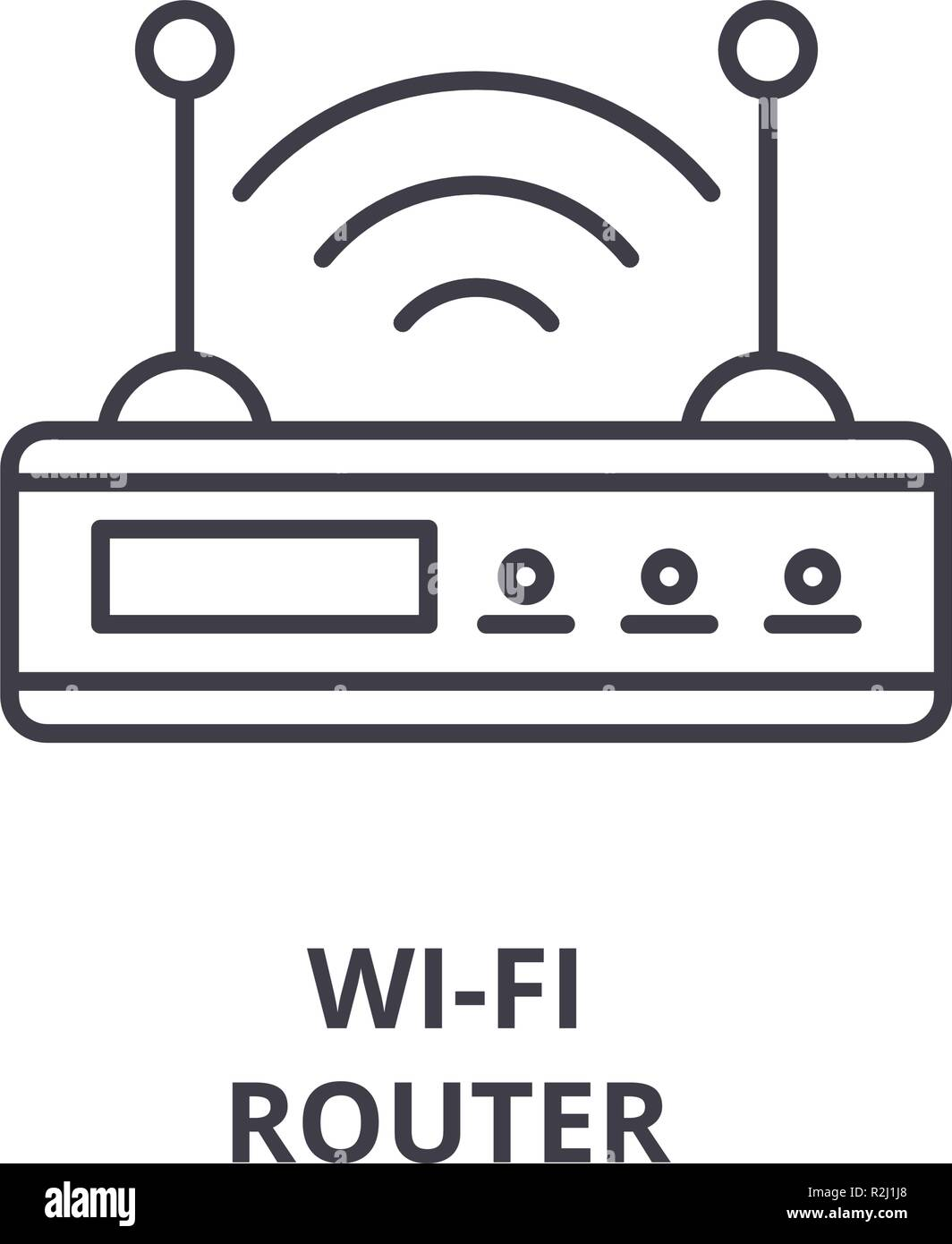 Router Wi-fi line icono concepto. Router Wi-fi vector Ilustración lineal, símbolo, signo Imagen De Stock
