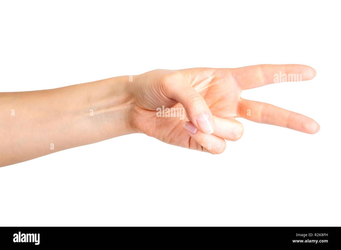 Lado femenino mostrando dos dedos en el símbolo de la paz o tijeras Imagen  De Stock e45bc208a225