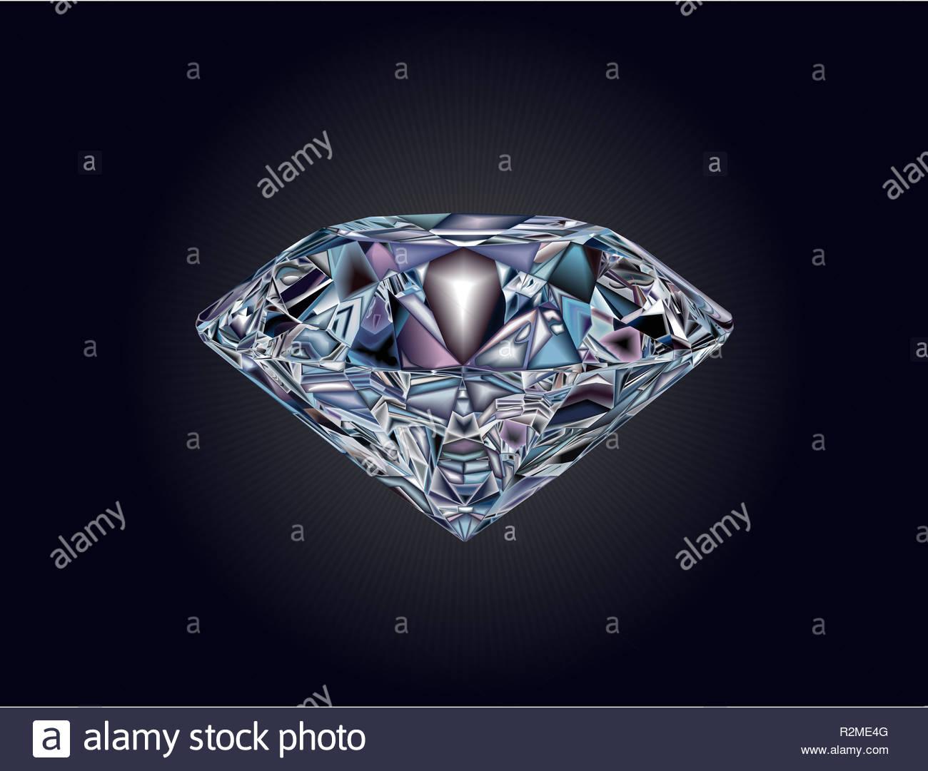 3141e9d10f18 Ilustración del diamante realista en una forma hermosa. Un cristal brillante  en colores oscuros y