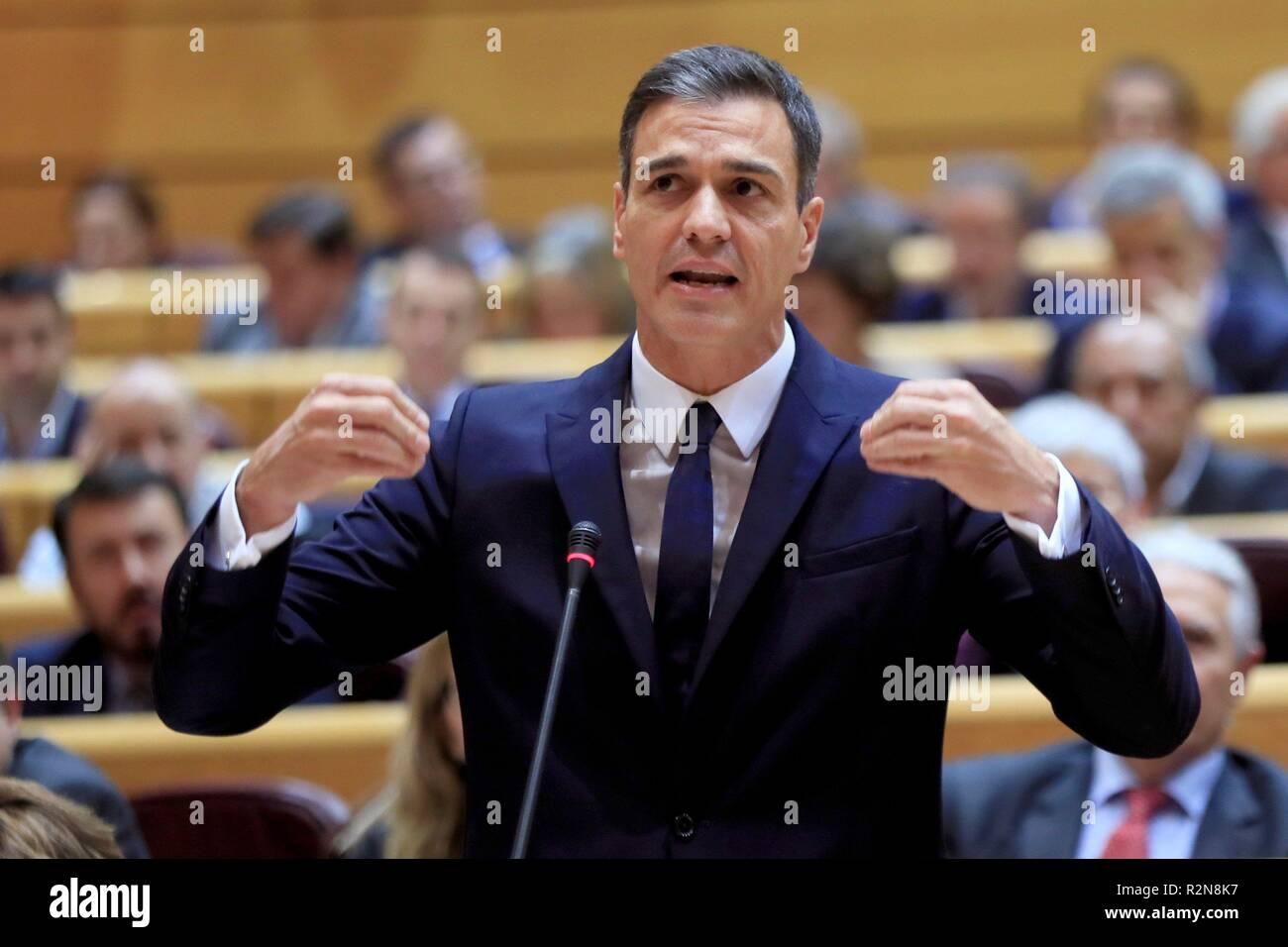 Madrid, España. 20 Nov, 2018. El Primer Ministro español, Pedro Sánchez, asiste a la sesión del Senado en Madrid, España, 20 de noviembre de 2018. Crédito: Fernando Alvarado/EFE/Alamy Live News Imagen De Stock