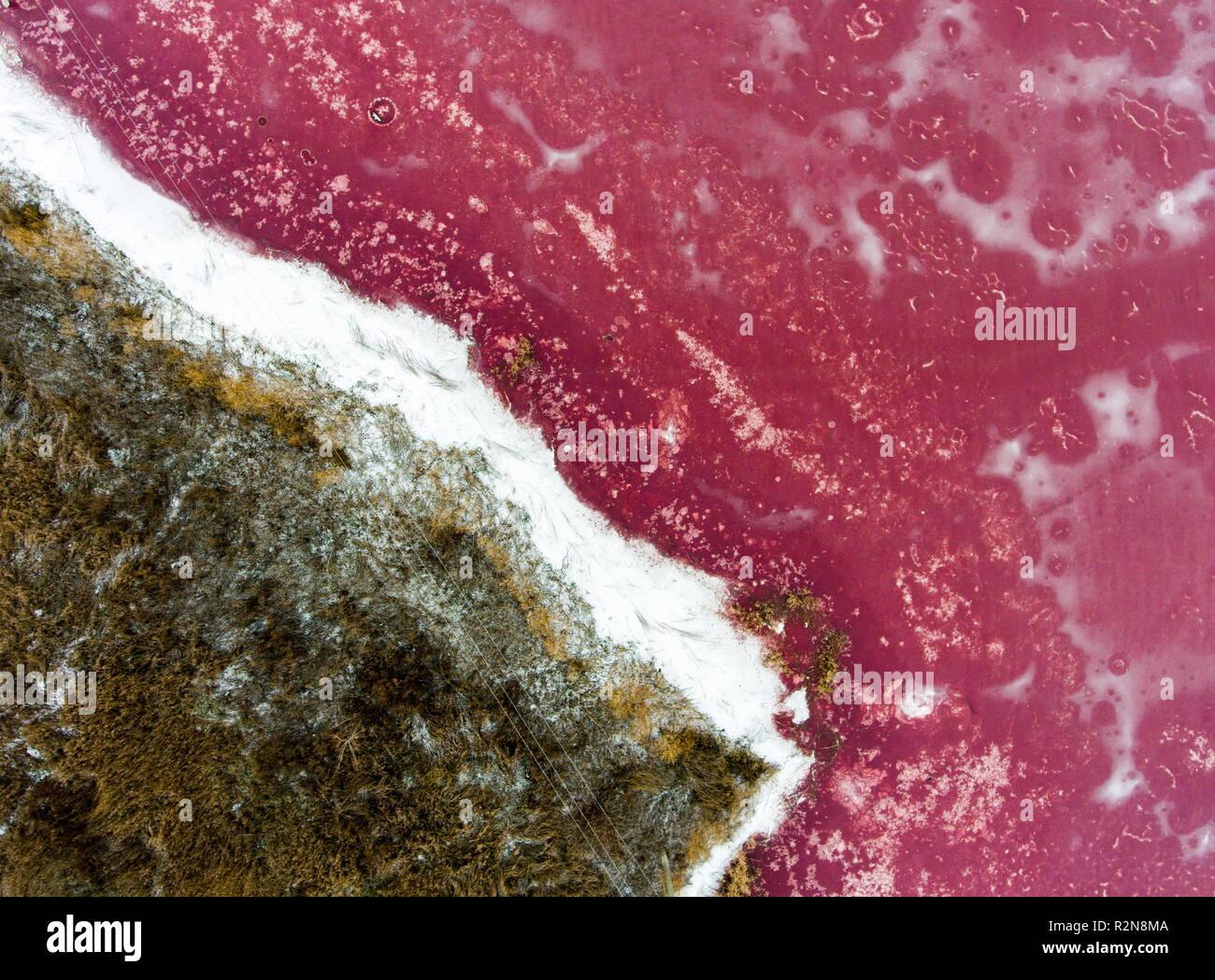 Rusia. 20 Nov, 2018. Región de Ryazan, Rusia - Noviembre 20, 2018: Una foto aérea de un estanque congelado (recipiente de decantación) en la granja de cerdos en Svinokompleks Ryazansky Iskra, Región de Ryazan, Rusia. Alexander Ryumin/TASS Crédito: Agencia de Noticias ITAR-TASS/Alamy Live News Imagen De Stock