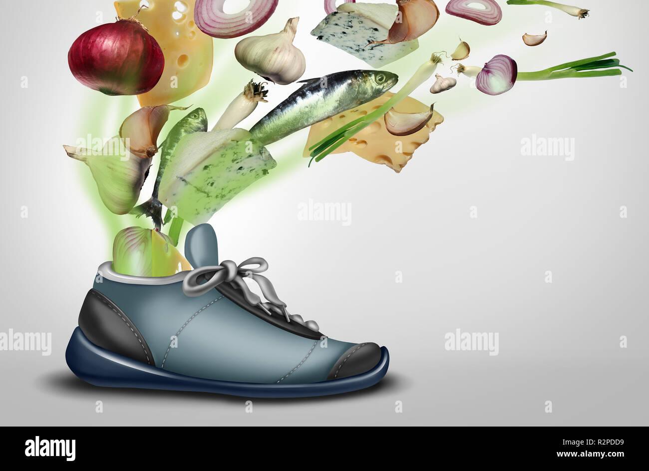Zapata apestosa como una sucia stinky sudoroso zapatillas de deporte o calzado con pie o malolientes pies la transpiración con ilustración 3D elementos. Imagen De Stock