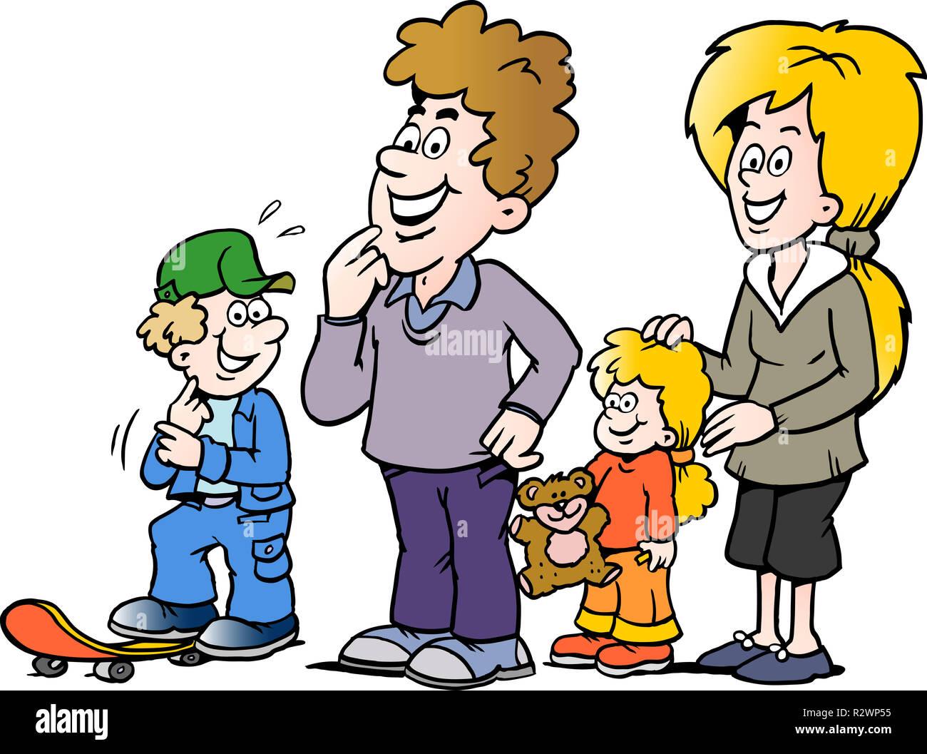 Ilustración Vectorial De Dibujos Animados De Una Familia Feliz Foto