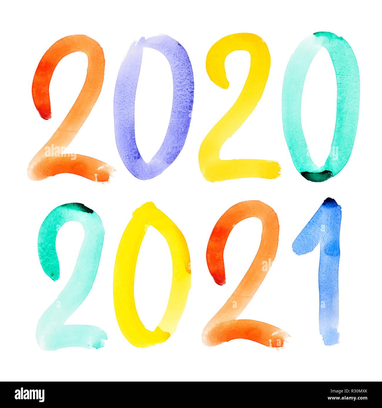 Feliz Año Nuevo 2020, 2021 - Colorida acuarela dibujada a mano rotulación Fotografía de stock - Alamy