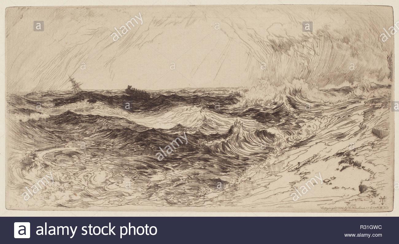 El resonante mar. Fecha: 1880. Dimensiones: placa: 10.6 × 20.2 cm (4 × 7 3/16 15/16.) Hoja: 24 × 31,4 cm (9 7/16 × 12 3/8 pulg.). Medio: grabado en negro. Museo: La Galería Nacional de Arte, Washington DC. Autor: Thomas Moran. Imagen De Stock