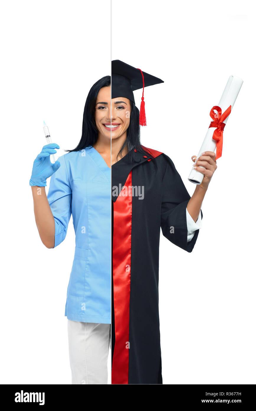 dd6ac949b Mujer alegre en dos ocupaciones de enfermera y graduado universitario  aislado sobre fondo blanco. Feliz